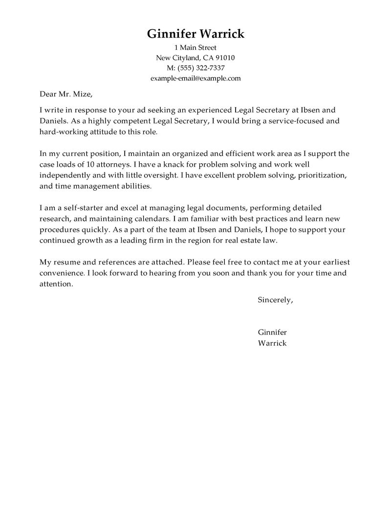 Secretary Cover Letter Template - Cover Letter attorney Position Acurnamedia