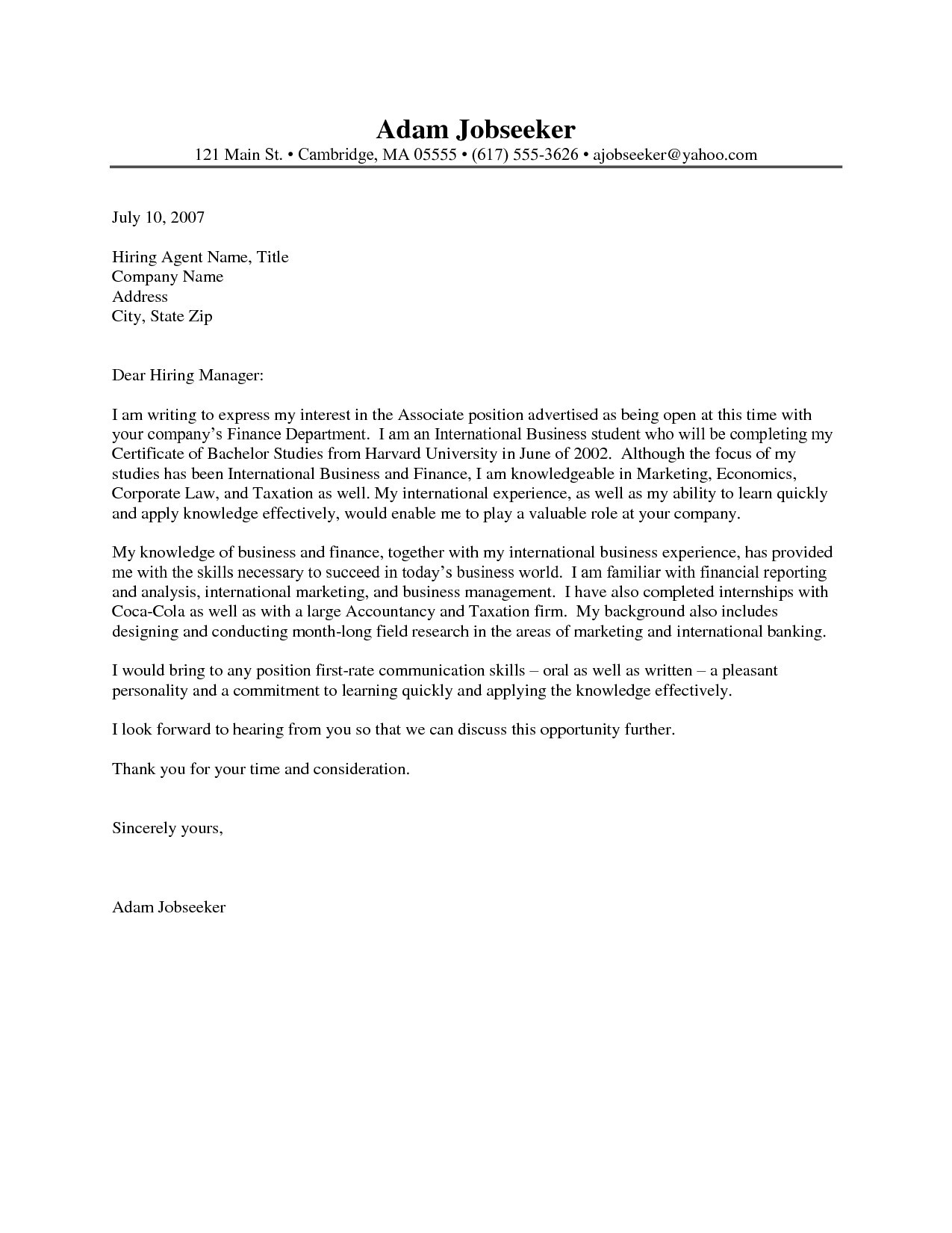 Professional Letter Of Recommendation Template - Cover Letter Examples for Internship Fresh Cover Letter Examples for