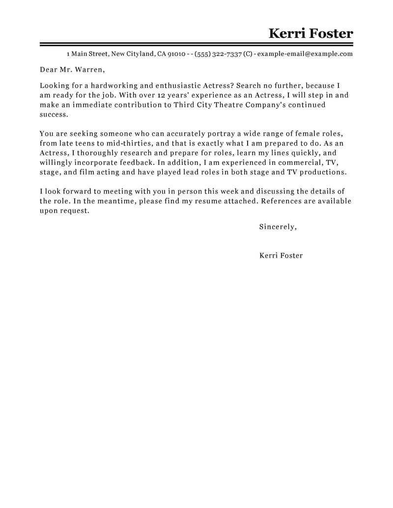 Acting Cover Letter Template - Cover Letter for Acting Role Acurnamedia