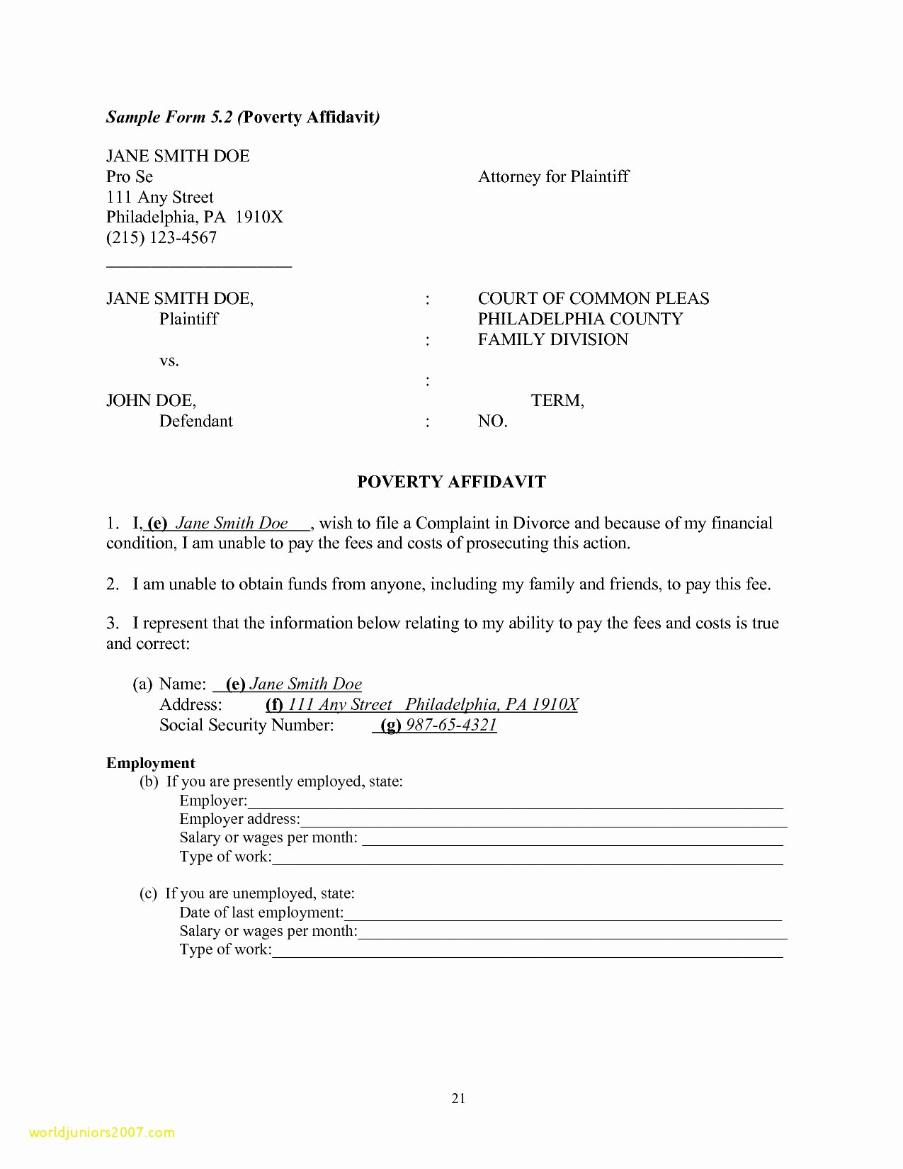 Affidavit Letter Template - Cover Letter for Affidavit Support