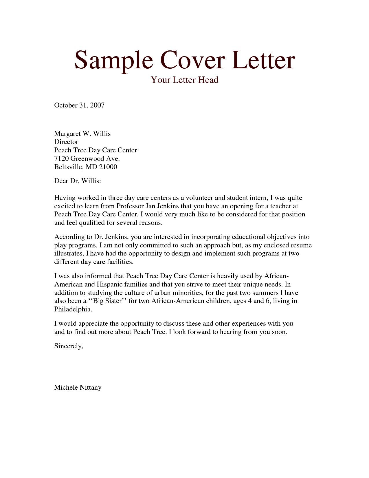 Template for Cover Letter for Teaching Position - Cover Letter for Montessori Teacher Acurnamedia