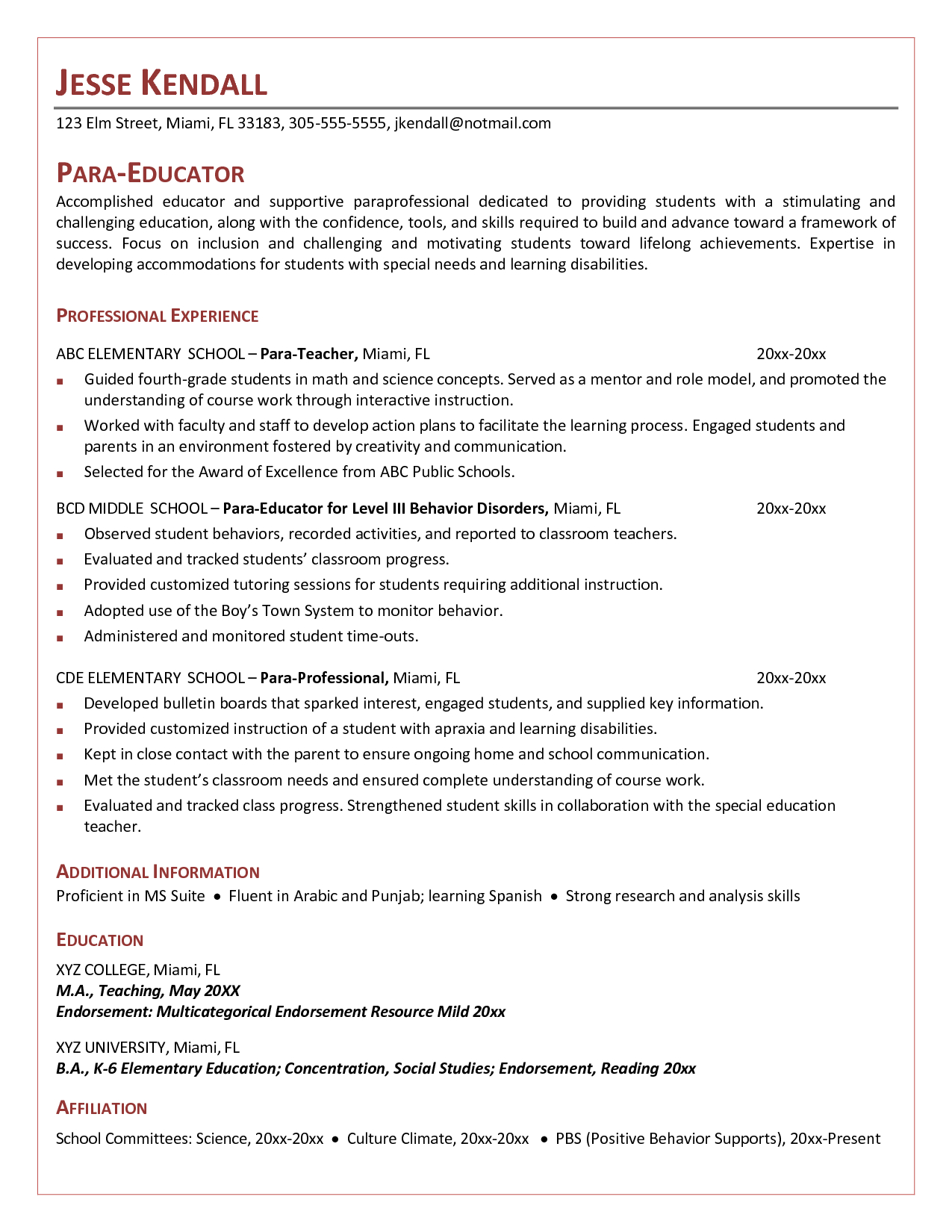 Cover Letter Template for Teachers Aide - Cover Letter for Paraeducator Example O