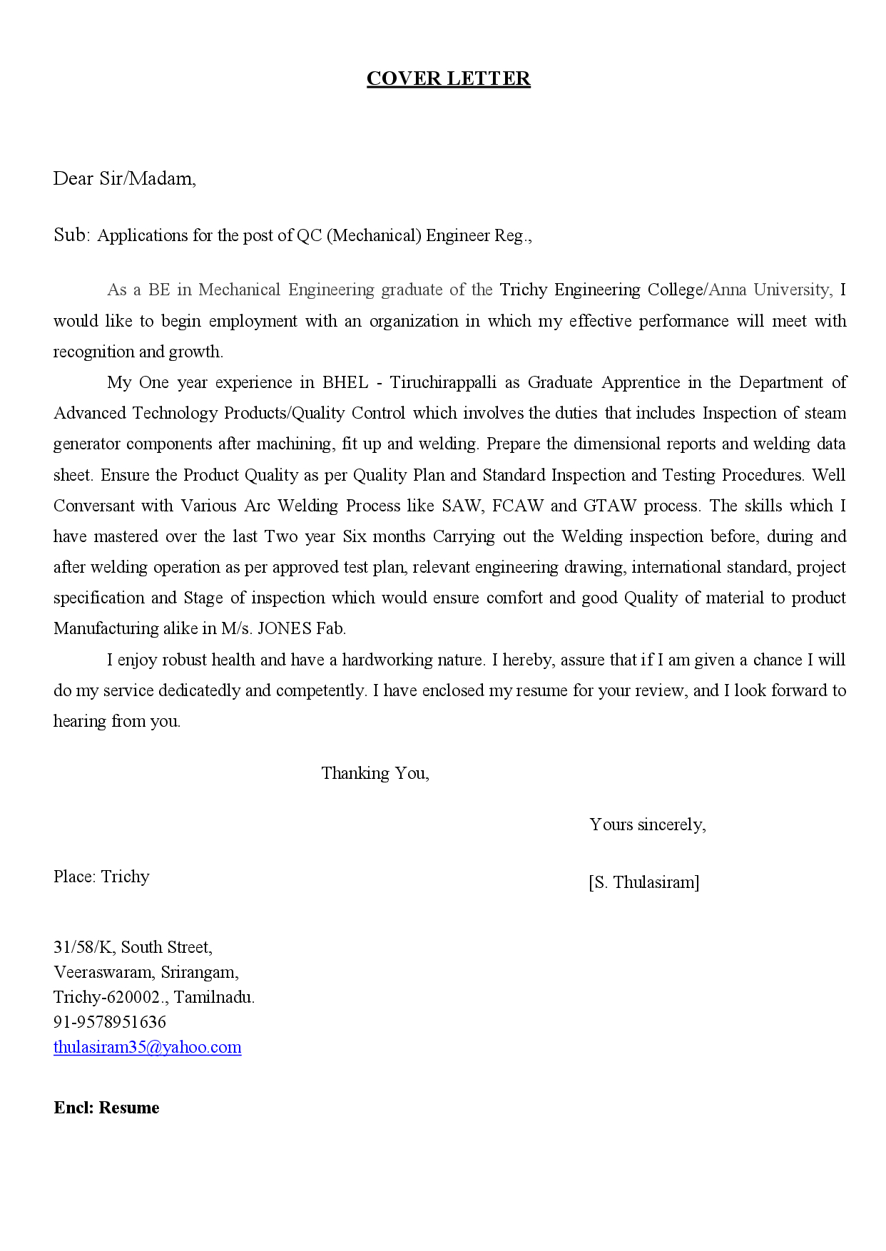 Mechanical Engineering Cover Letter Template - Cover Letter Mechanical Engineering Acurnamedia