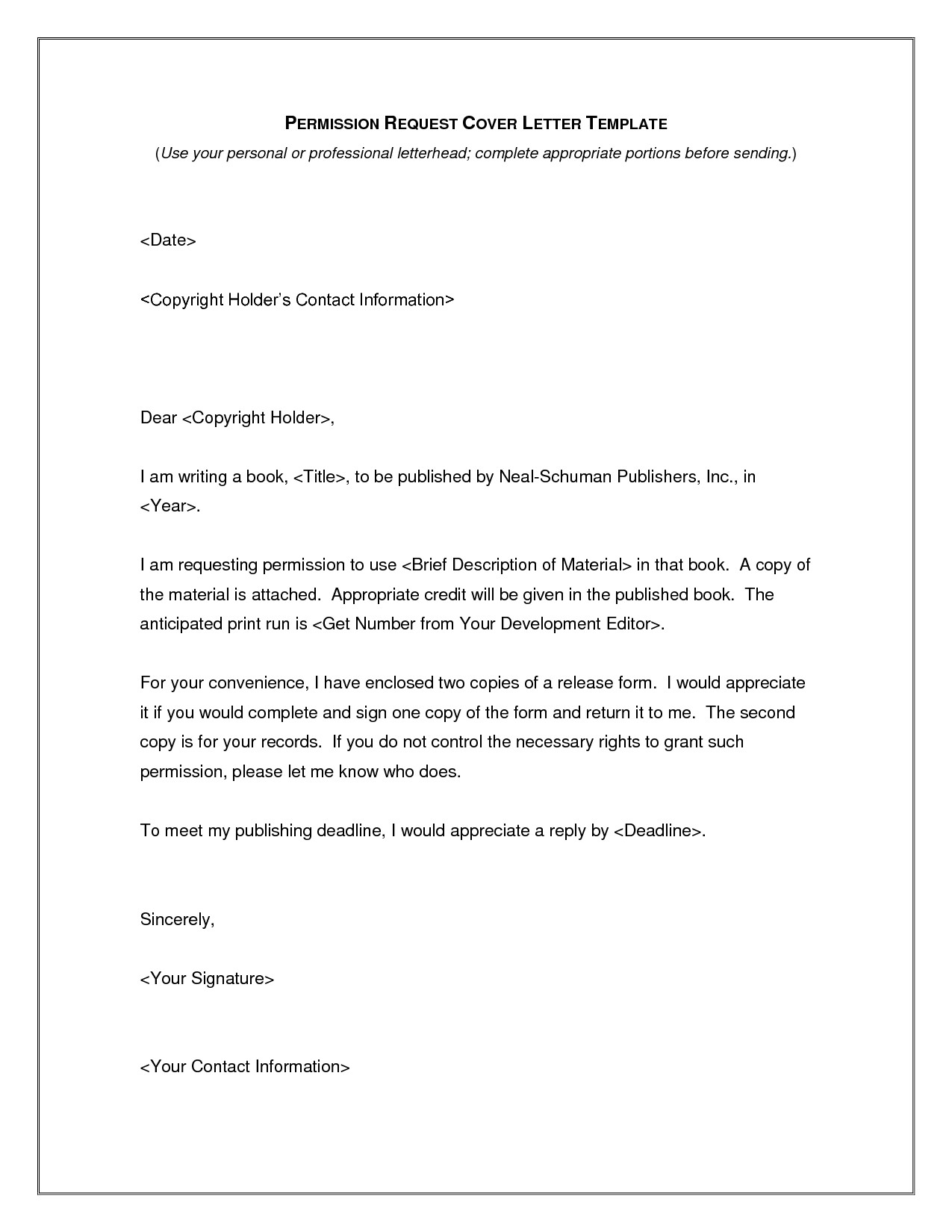 Copyright Permission Letter Template - Cover Letter Sample for Publishing Pany Valid Best S Brief Cover