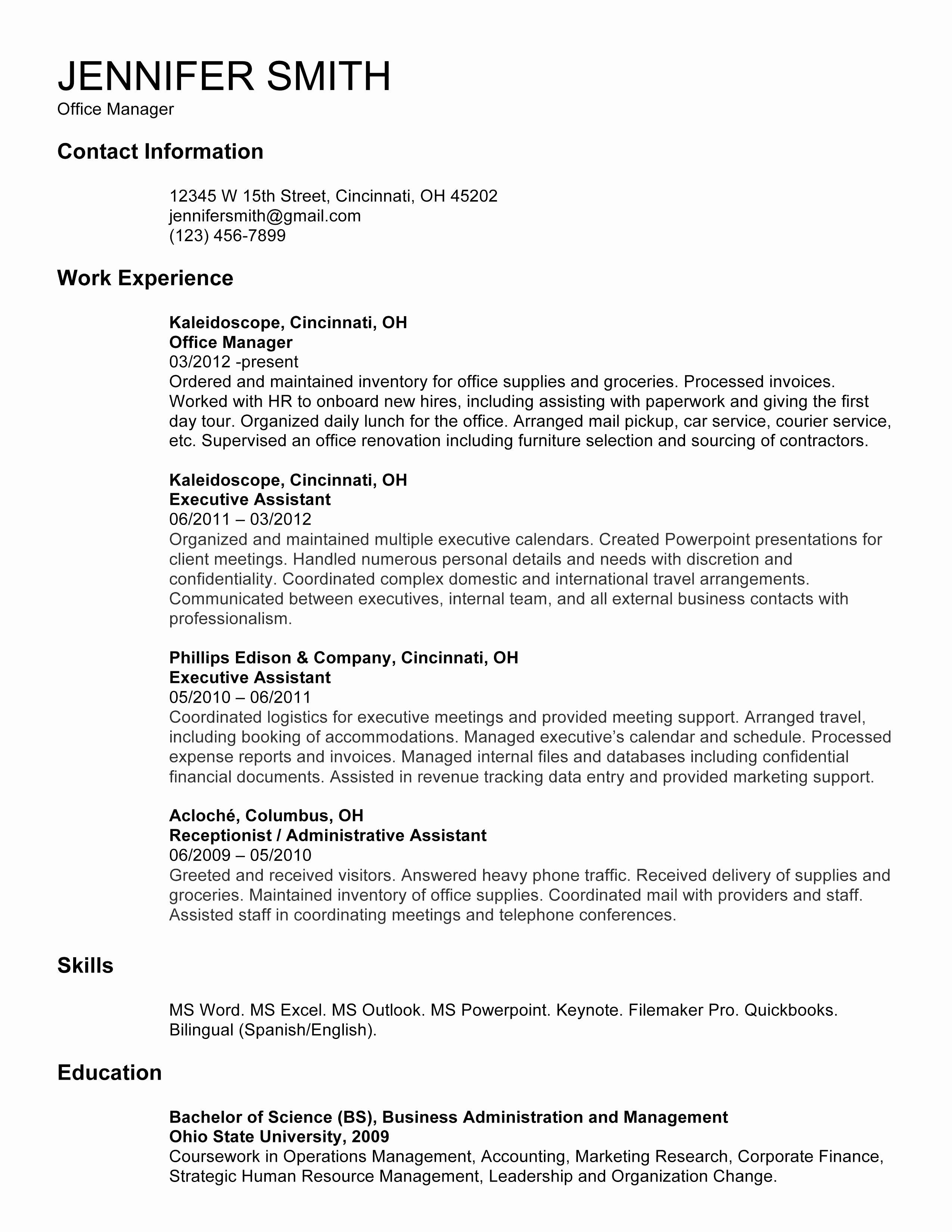 Cover Letter Template for Receptionist - Cover Letter Template Resume Fresh Managerial Cover Letter Beautiful