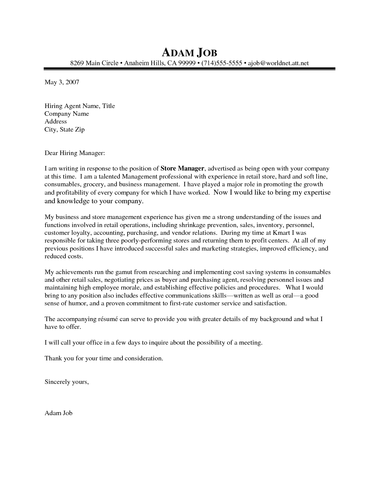 Cover Letter Template for Retail Job - Cover Letters Samples for Customer Service Cover Letter Samples and