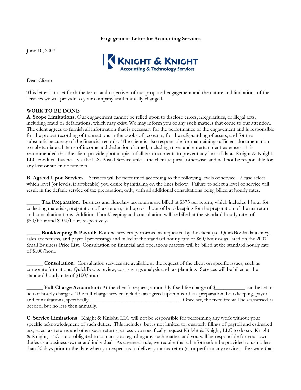 Cpa Engagement Letter Template - Cpa Engagement Letter Template