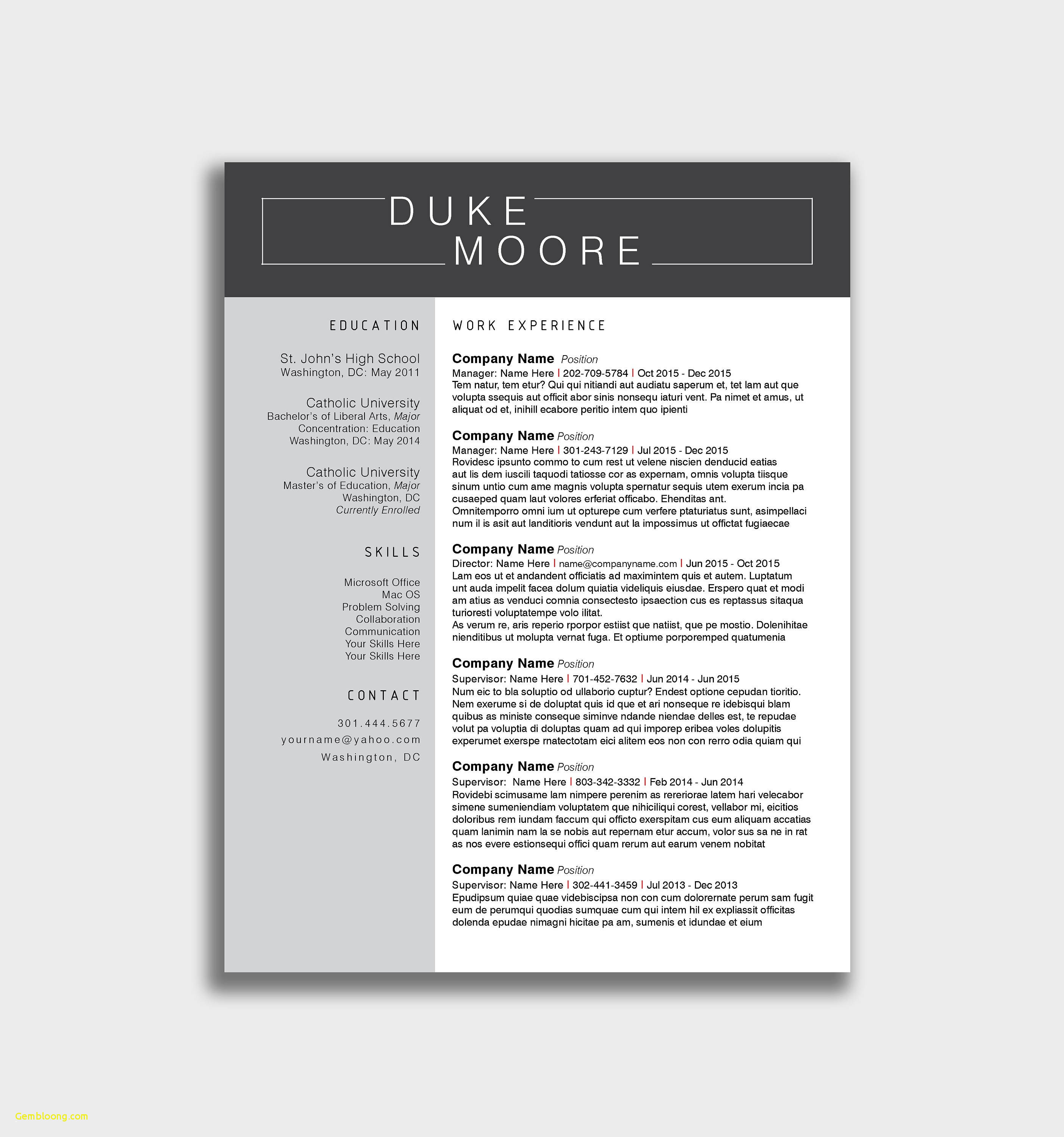 Creative Cover Letter Template - Creative Resume Template Free Download New Ficial Resume Templates