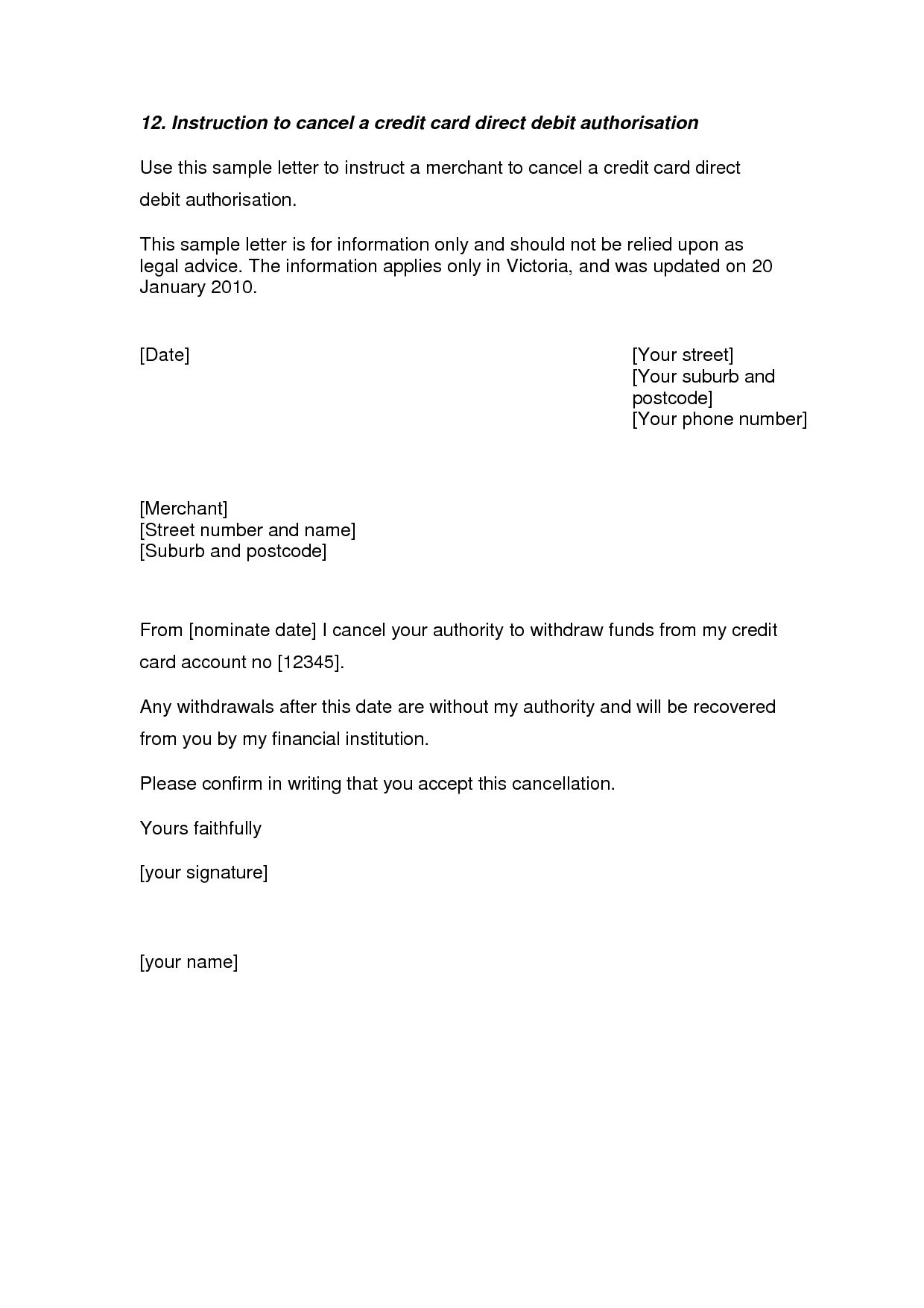 Insurance Policy Cancellation Letter Template - Credit Card Cancellation Letter A Credit Card Cancellation Letter