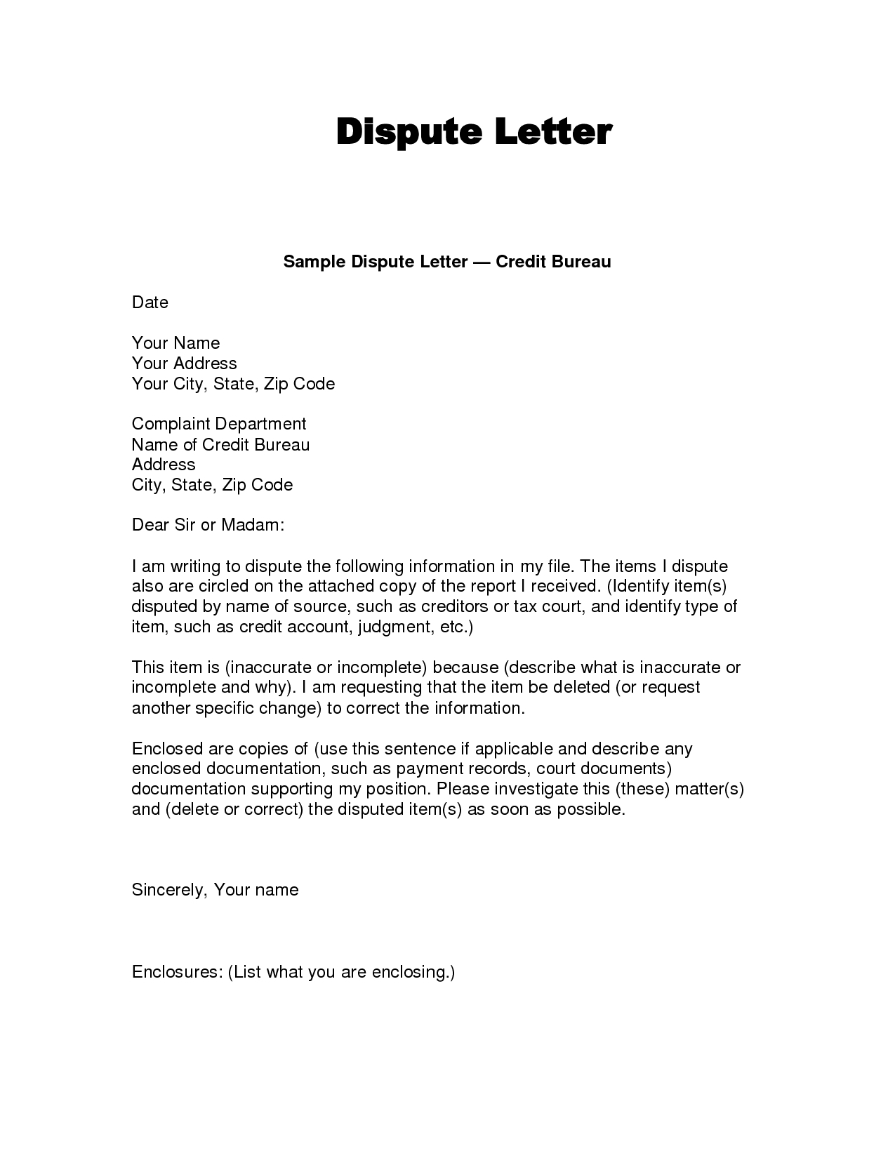 Credit Dispute Letter Template - Credit Dispute Letter Templates Acurnamedia