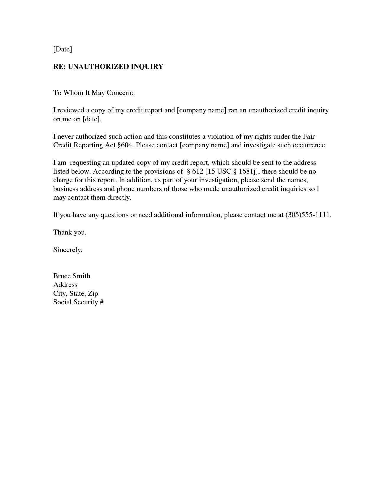Letter Of Explanation for Credit Inquiries Template - Credit Report Dispute Letter Template or Request Letter format