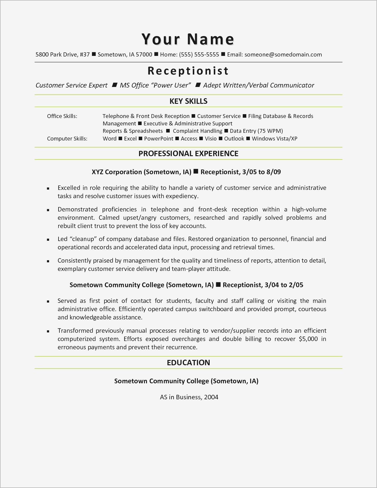 Receptionist Cover Letter Template Samples Letter Template Collection