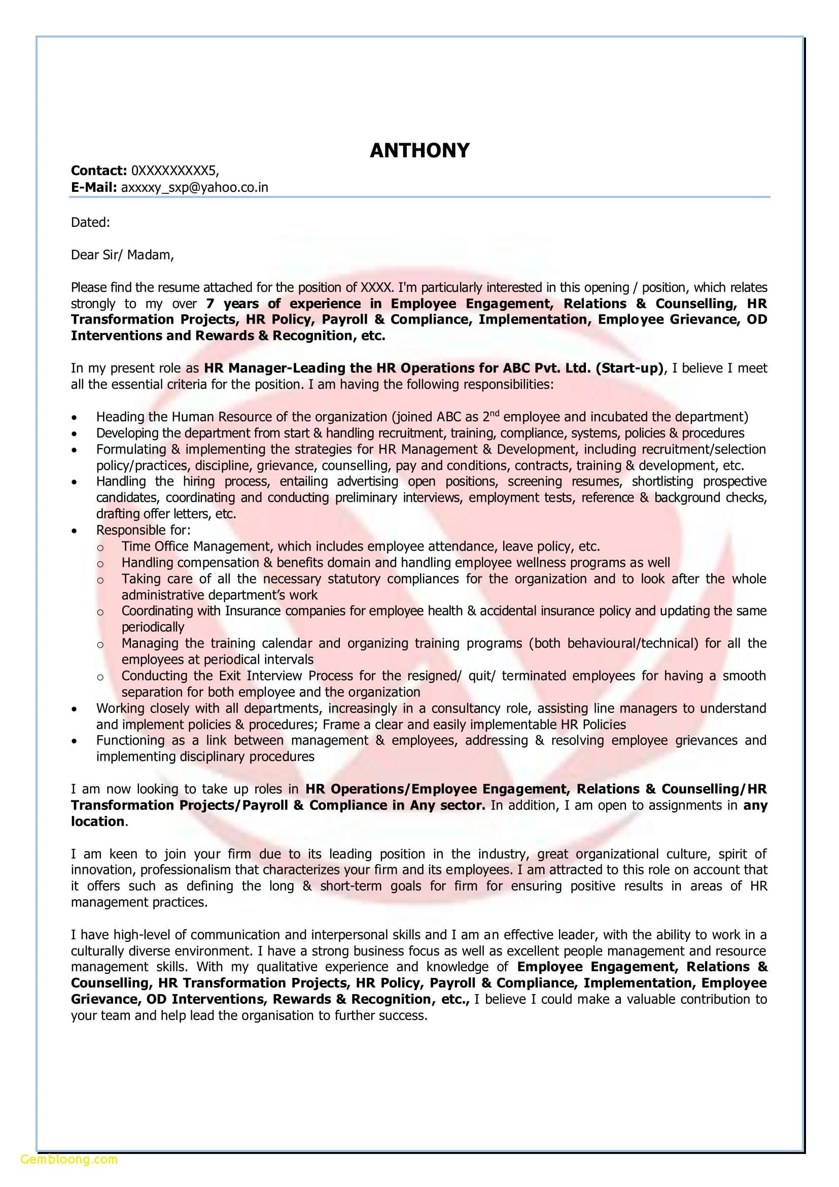 Maintenance Cover Letter Template - Customer Service Sample Resume Lovely Resume for Customer Service