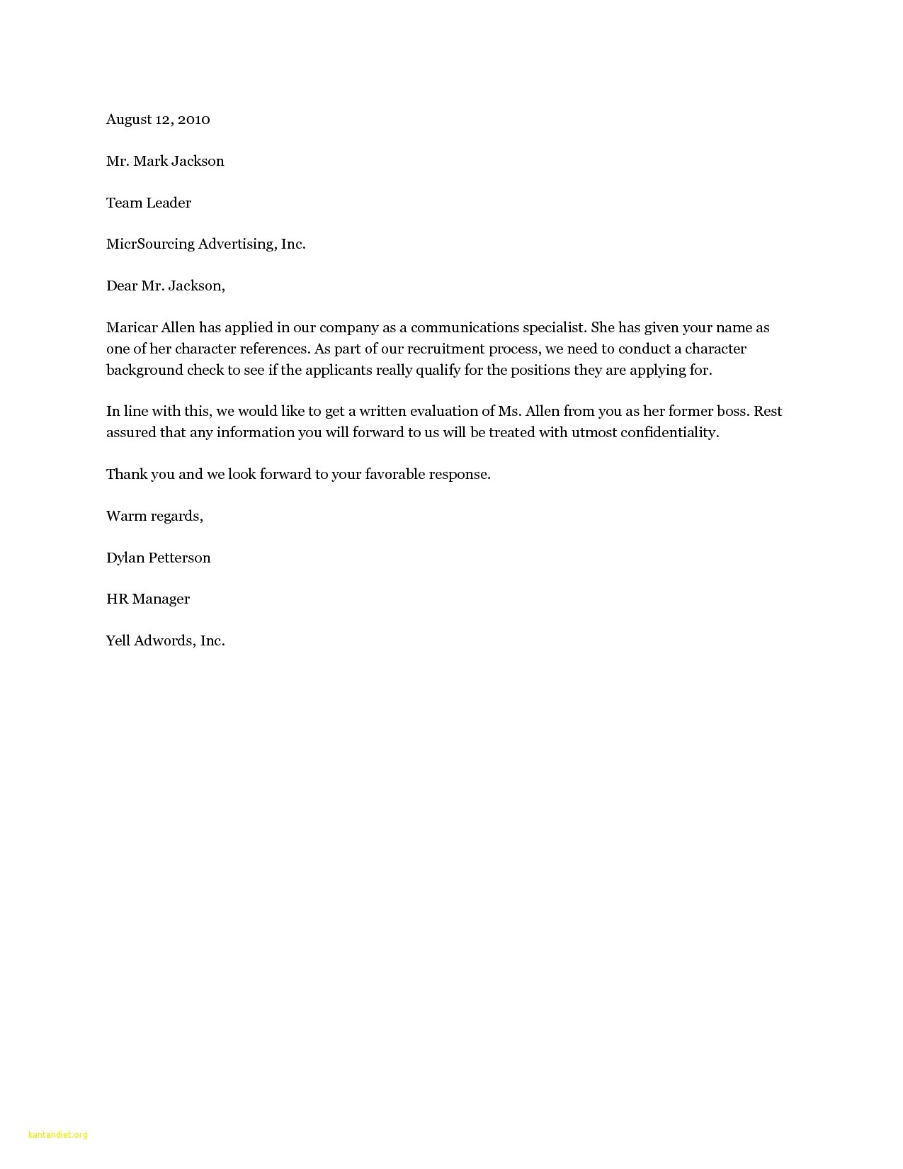 Personal Reference Letter Template - Dear Hiring Manager Cover Letter Sample 19 Cover Letter Template