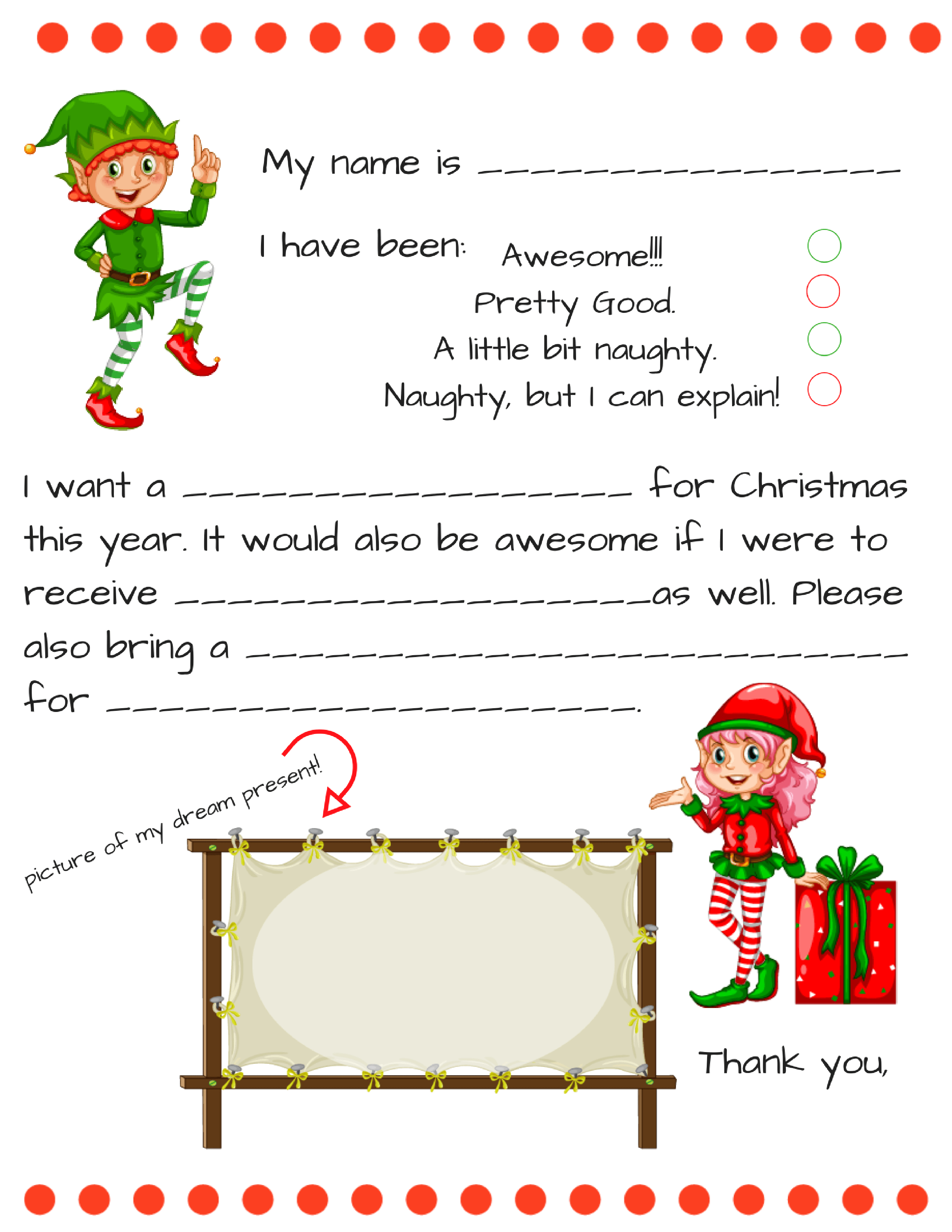 Free Letter to Santa Template Printable - Dear Santa Letter Template