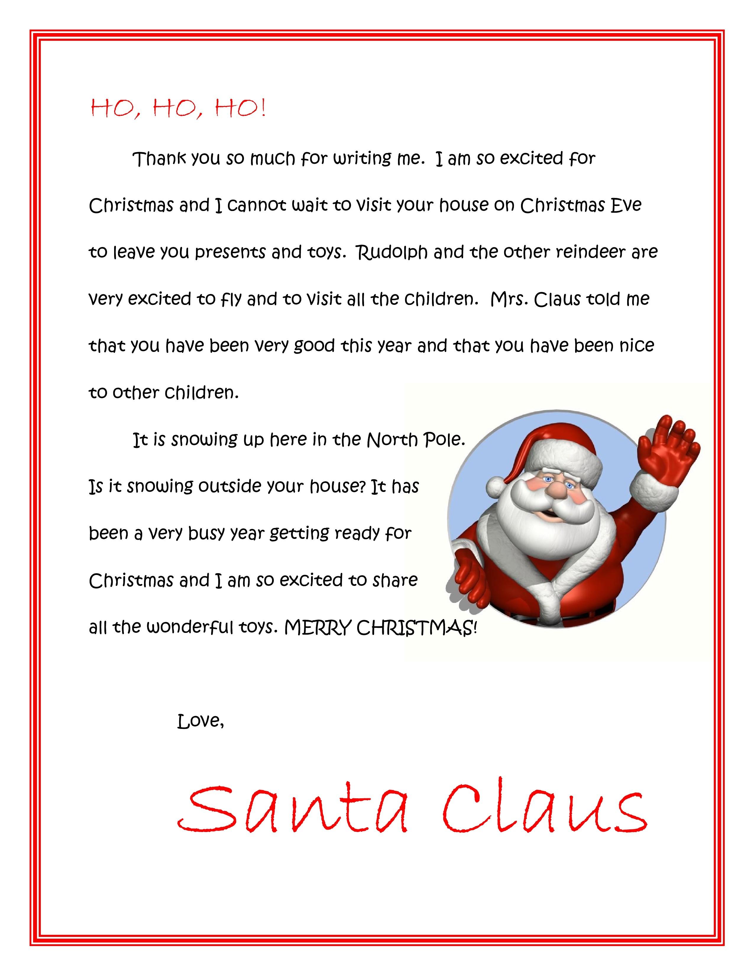 Santa Response Letter Template - Dear Santa Letter Template