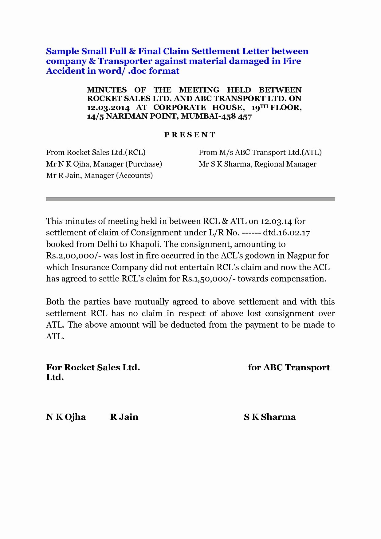 Car Accident Settlement Letter Template - Debt Negotiation Letter Template