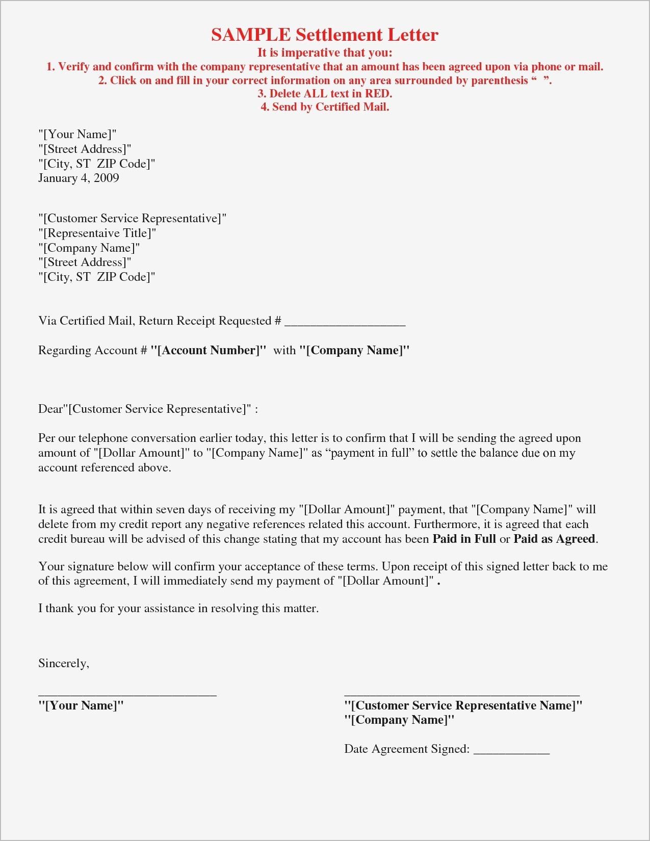 Credit Card Settlement Letter Template - Debt Negotiation Letter Template