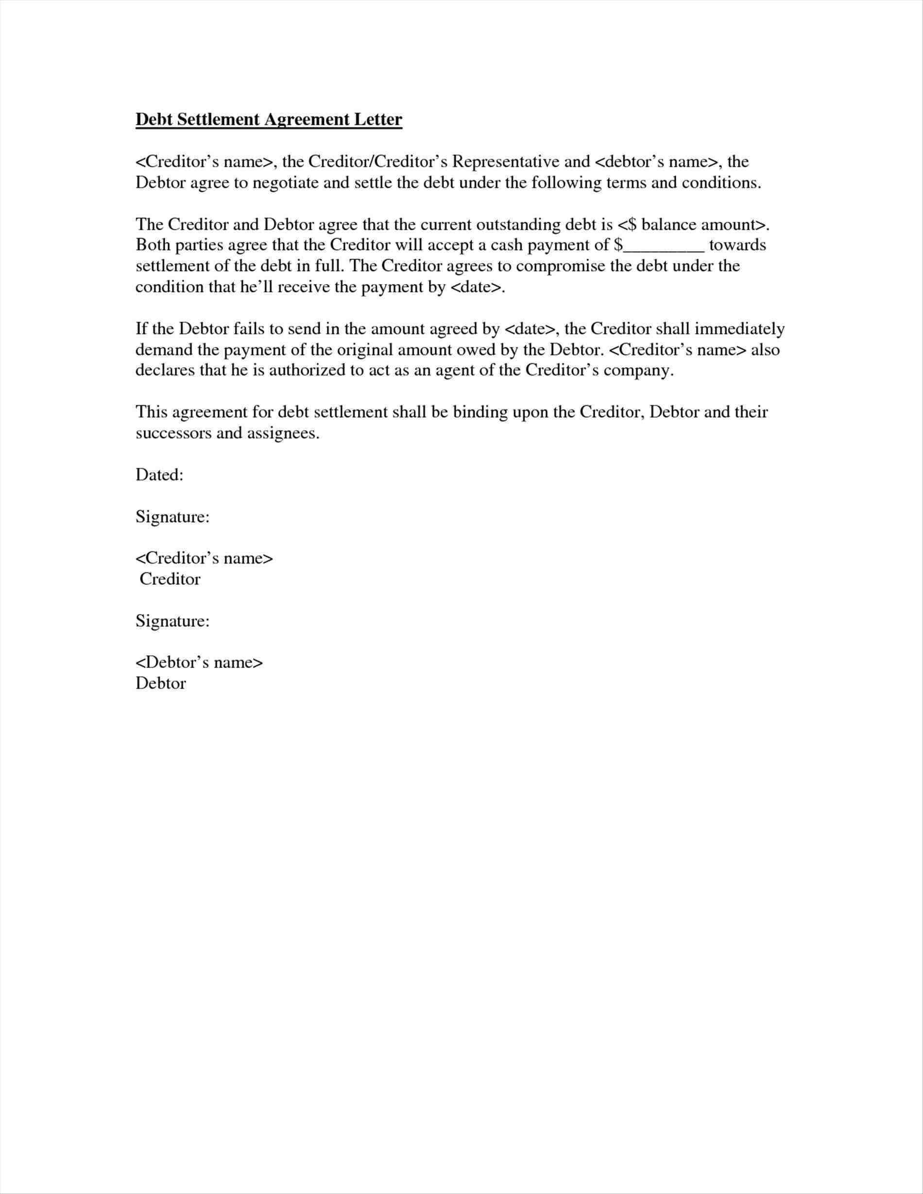 Debt Settlement Agreement Letter Template - Debt Negotiation Letter Template