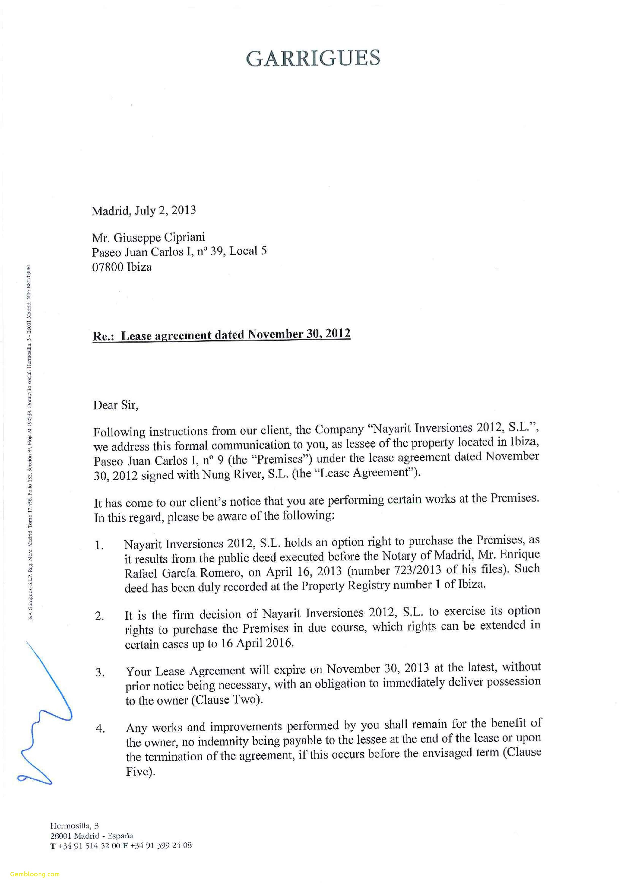 Nonrenewal Of Lease Letter Template - Declaration Letter Sample Non Renewal Lease Letter Nonrenewal