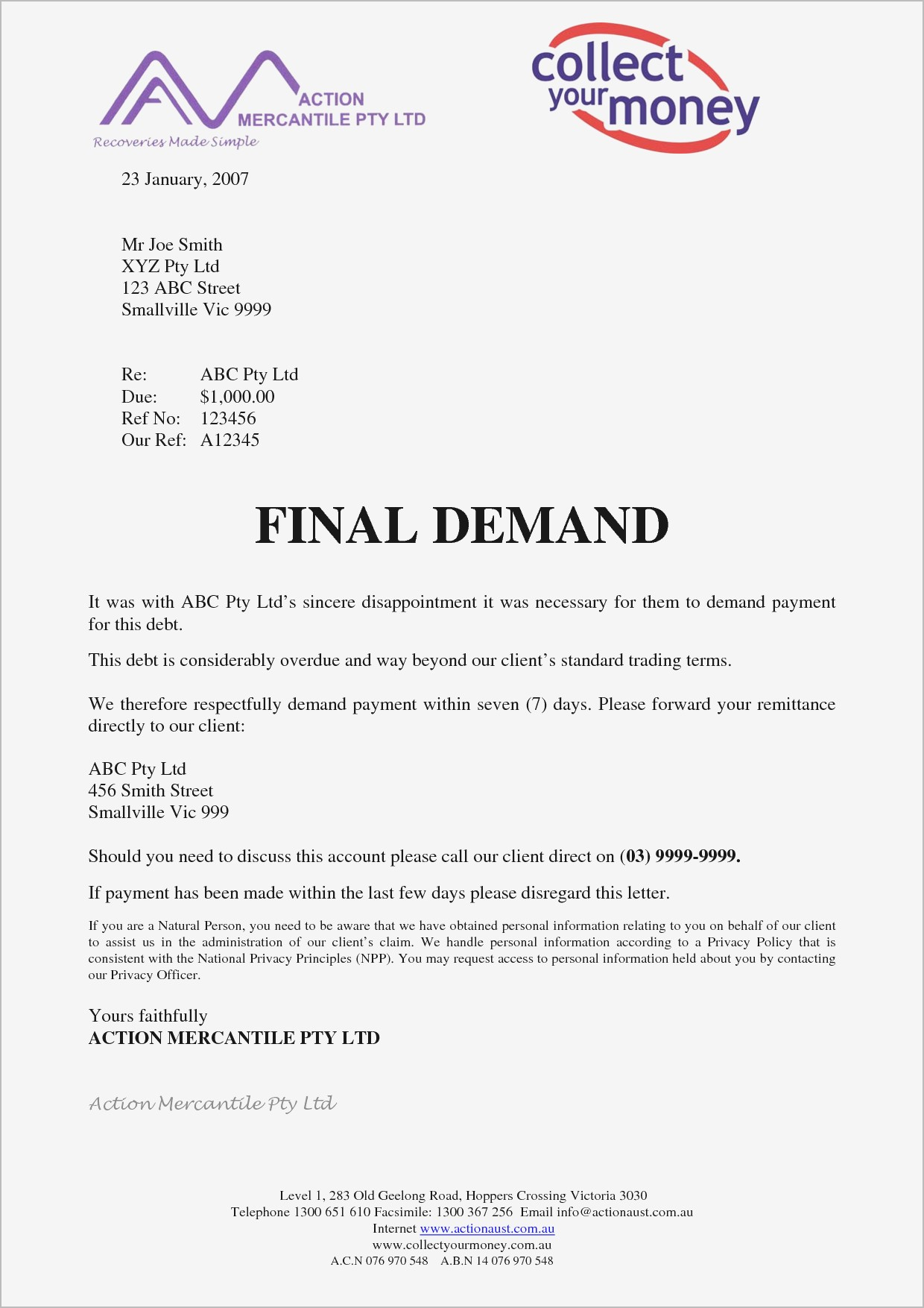 Demand for Payment Letter Template - Demand for Payment Letter Template Ideas