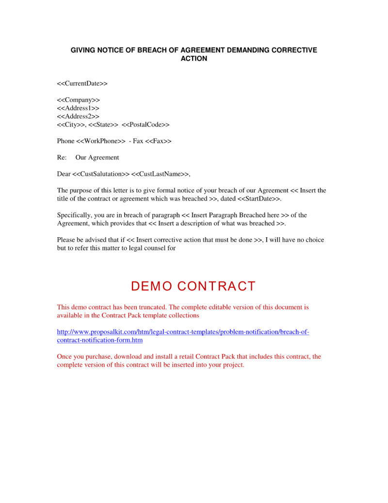Cease and Desist Letter Breach Of Contract Template - Demand Letter Sample Breach Of Contract