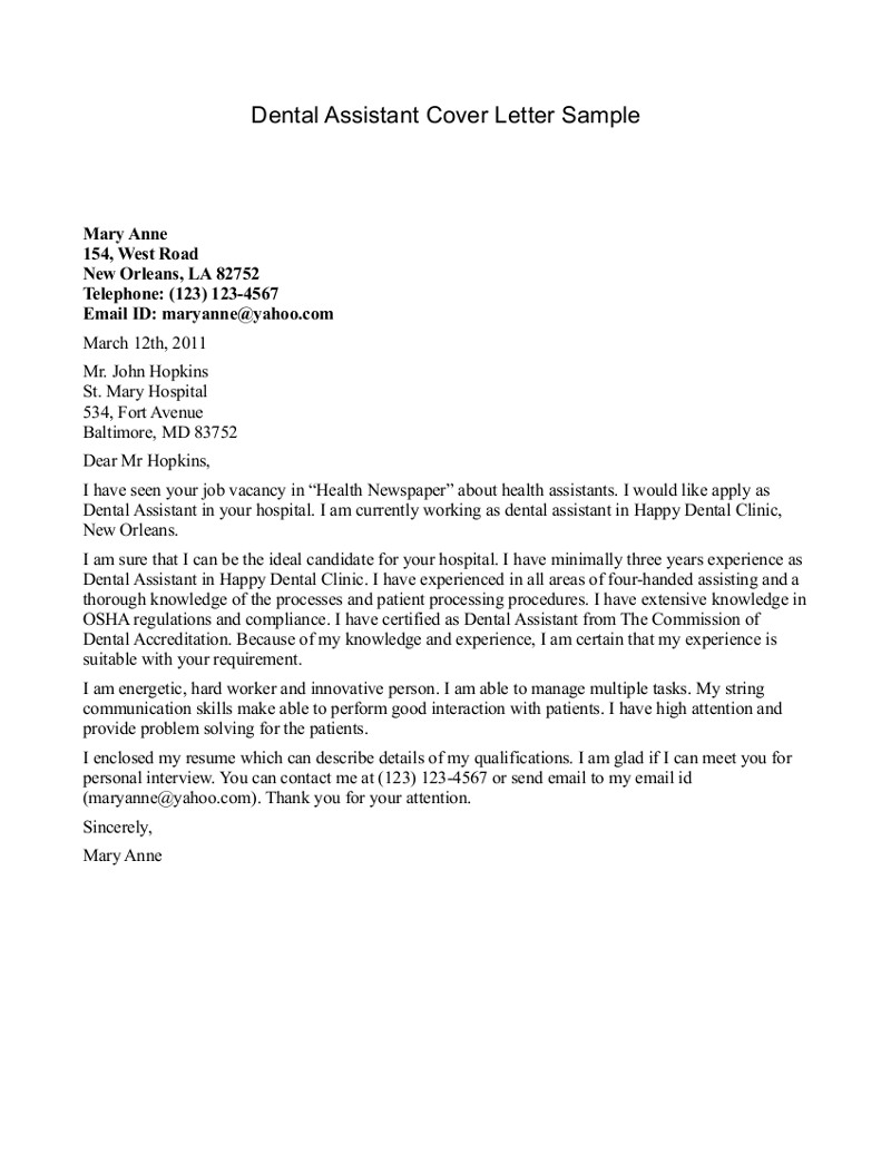 Dental assistant Cover Letter Template - Dental Cover Letters Acurnamedia