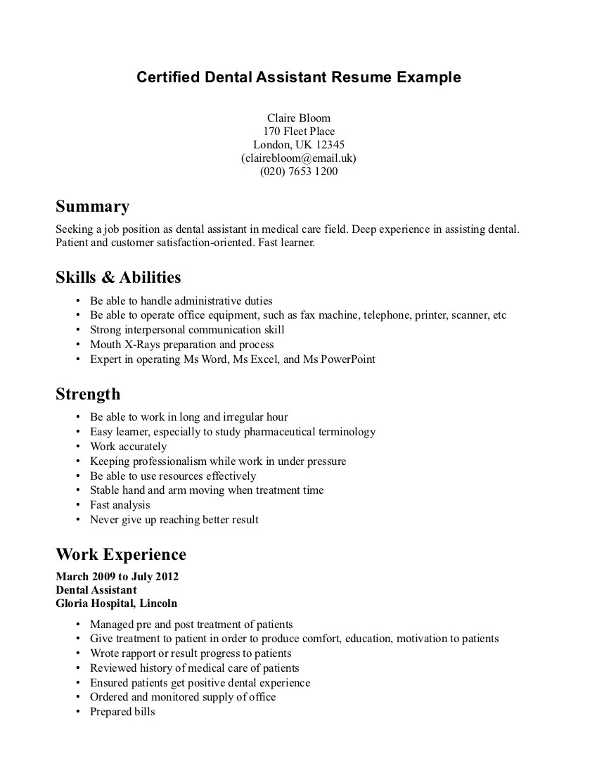Dental assistant Cover Letter Template - Dental Resume Examples solarfm