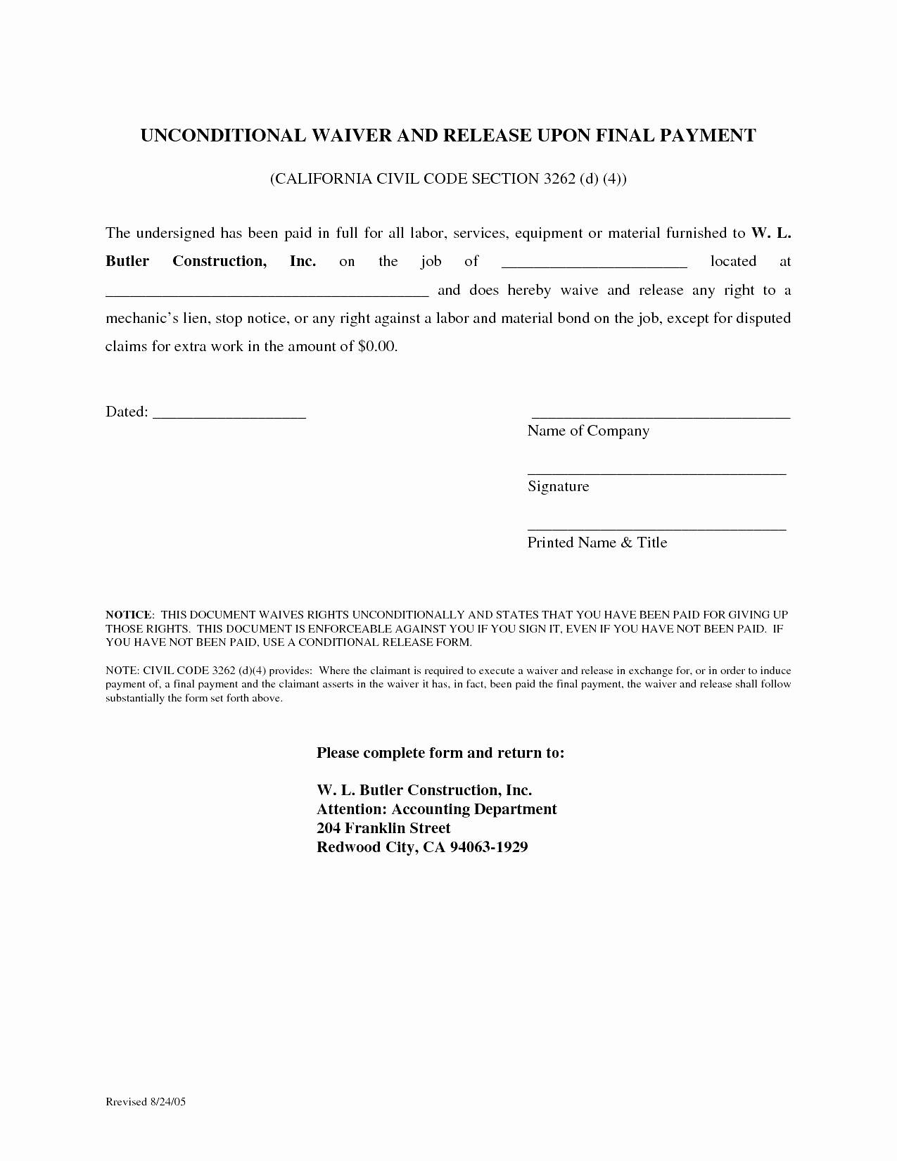 Mechanics Lien Letter Template - Disclaimer Template Letter Unique 20 Fresh Texas Mechanics Lien form