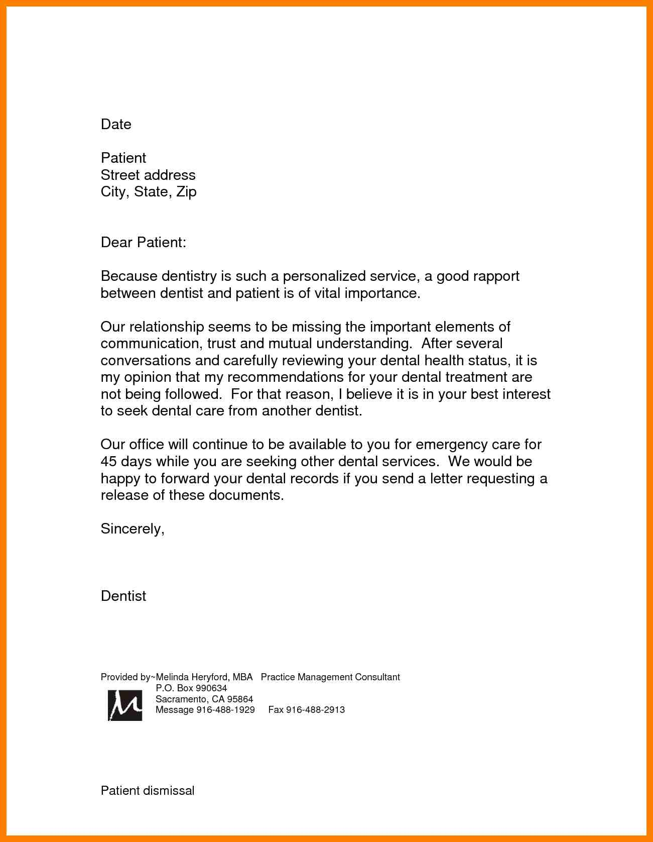 Dental Patient Dismissal Letter Template Samples | Letter Template