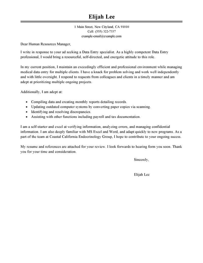 Customer Service Cover Letter Template Word - Document Specialist Cover Letter Sample Livecareer Data Entry Cover