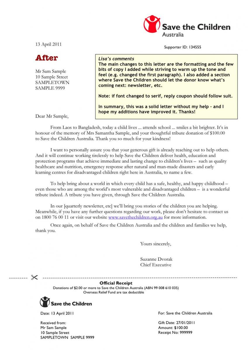 Memorial Donation Letter Template - Donation Acknowledgement Letter