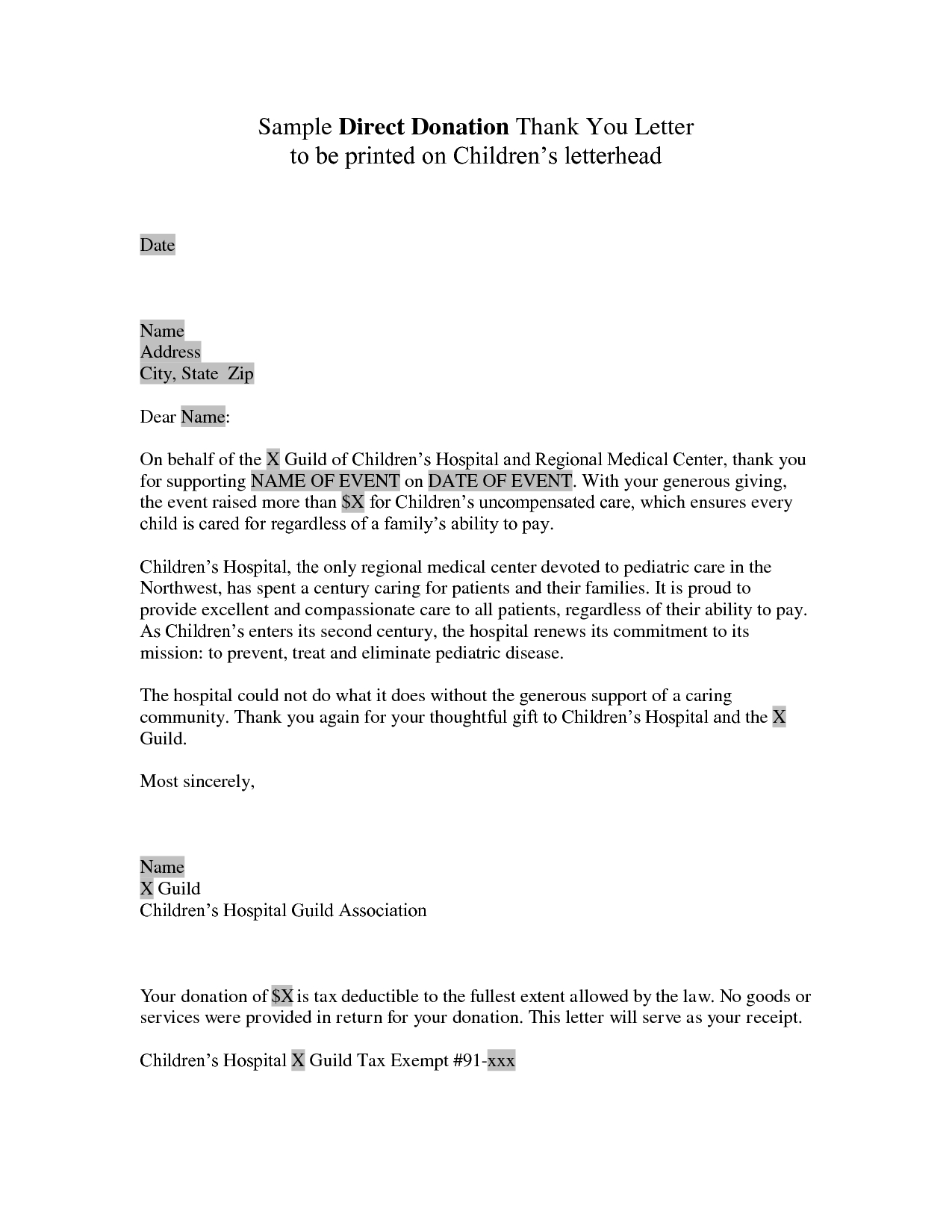 Non Profit Thank You Letter Template - Donor Thank You Letter Sample