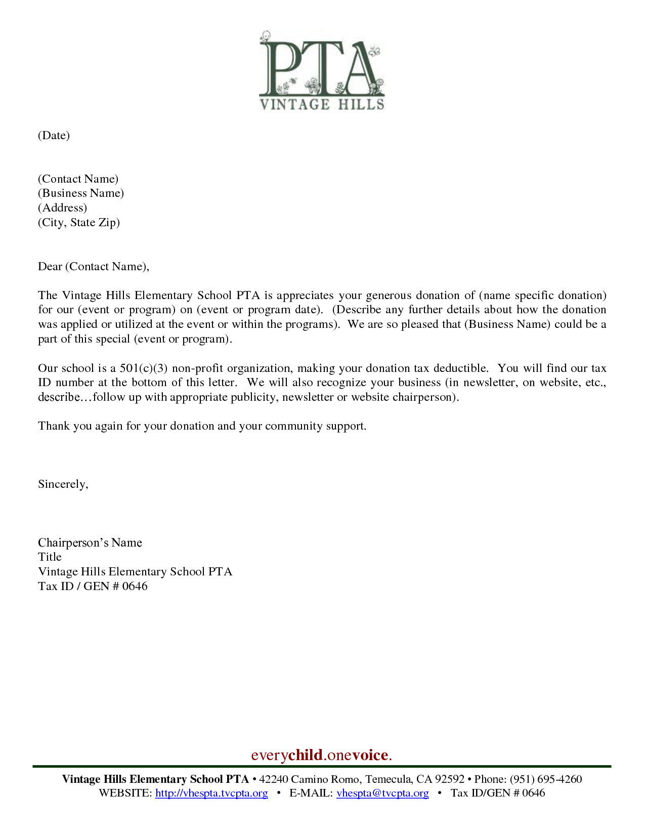 Pta Fundraising Letter Template - Donor Thank You Letter Sample