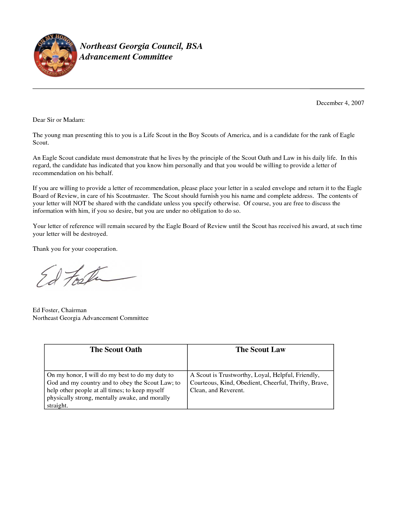 Eagle Scout Recommendation Letter Template - Eagle Scout Candidate Letter Of Re Mendation Acurnamedia