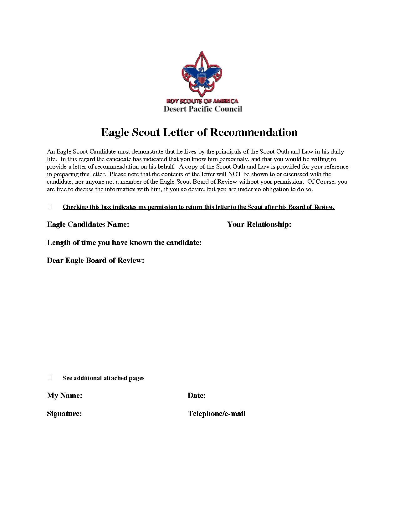 Eagle Recommendation Letter Template - Eagle Scout Re Mendation Letter Sample