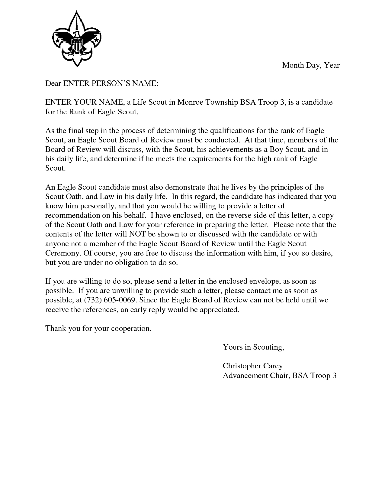 Free Printable Letter Of Recommendation Template - Eagle Scout Reference Request Sample Letter Doc 7 by Hfr990q