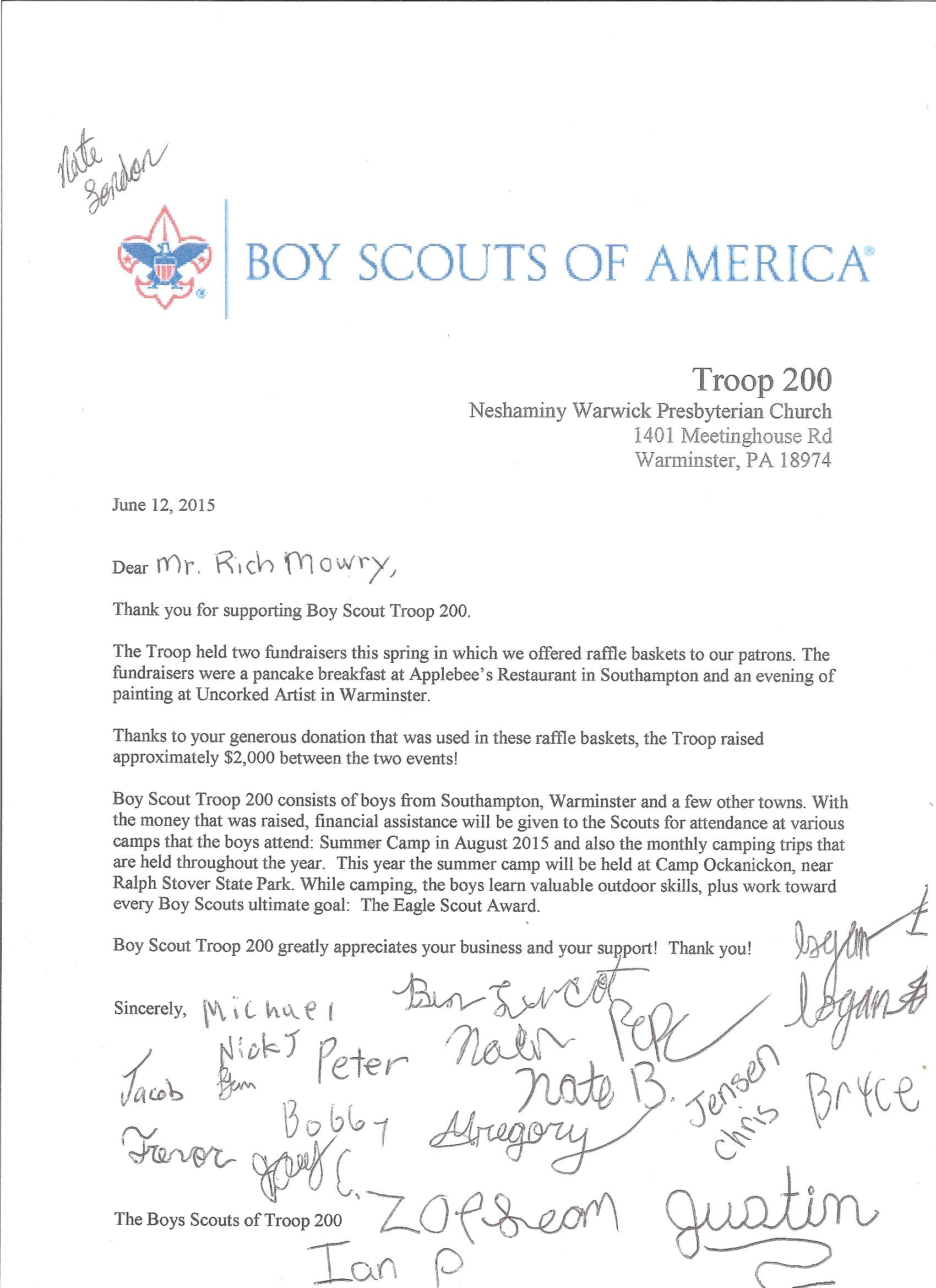 Boy Scout Donation Letter Template - Eagle Scout Thank You Letter Gallery Letter format formal Sample