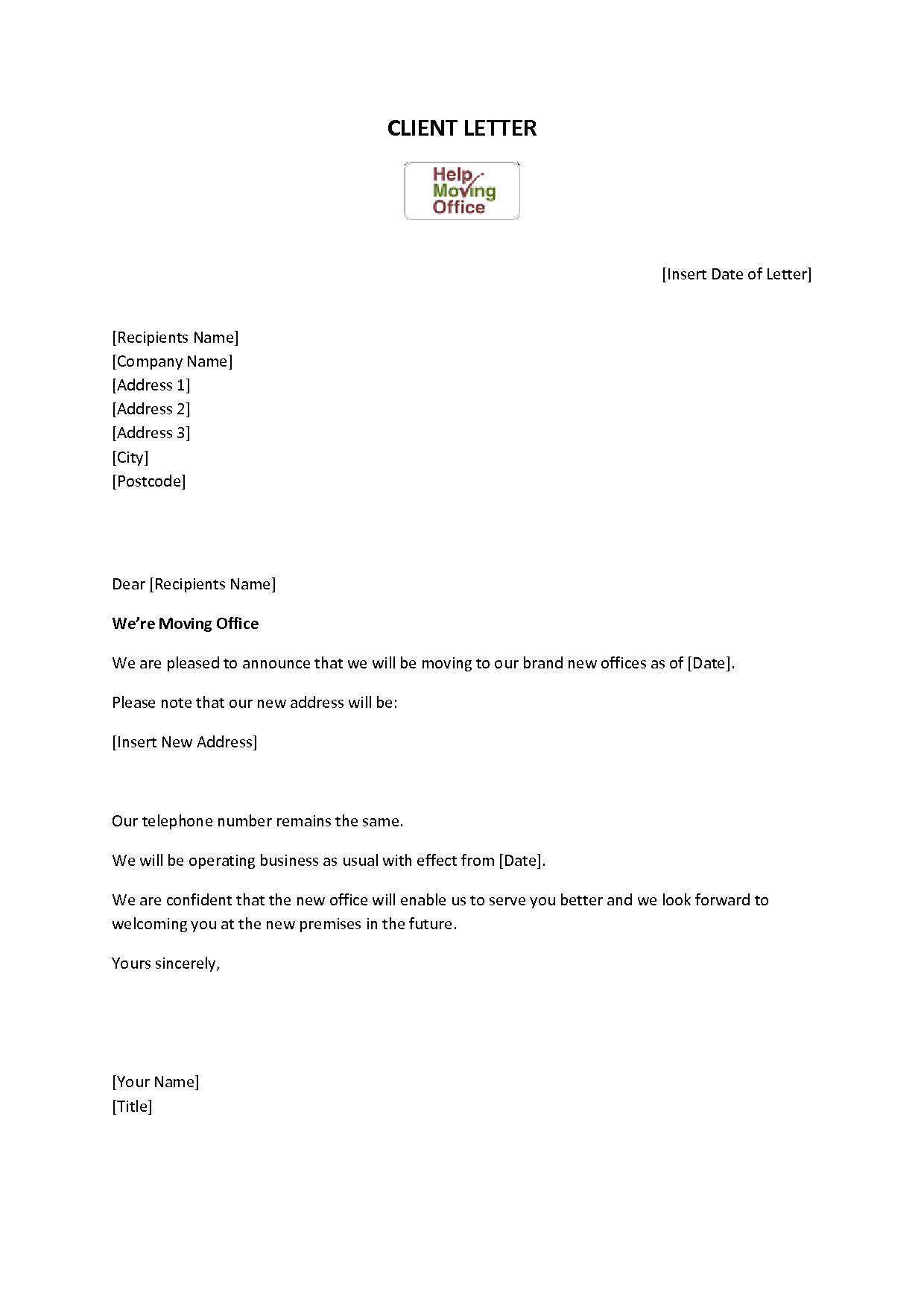 addressing relocation in cover letter - change of address letter template examples letter