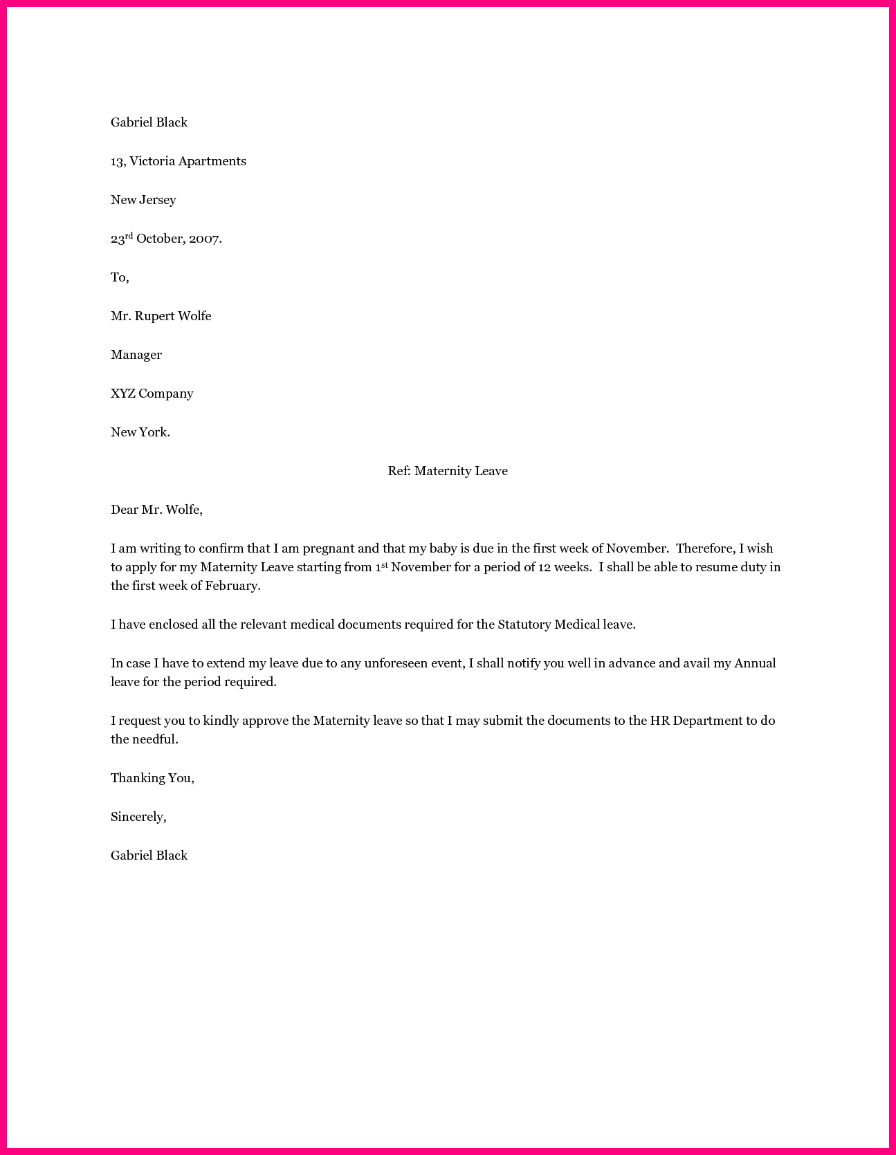 Resignation Letter Free Template Download - Employee Maternity Leave Letter Sample Application format for School