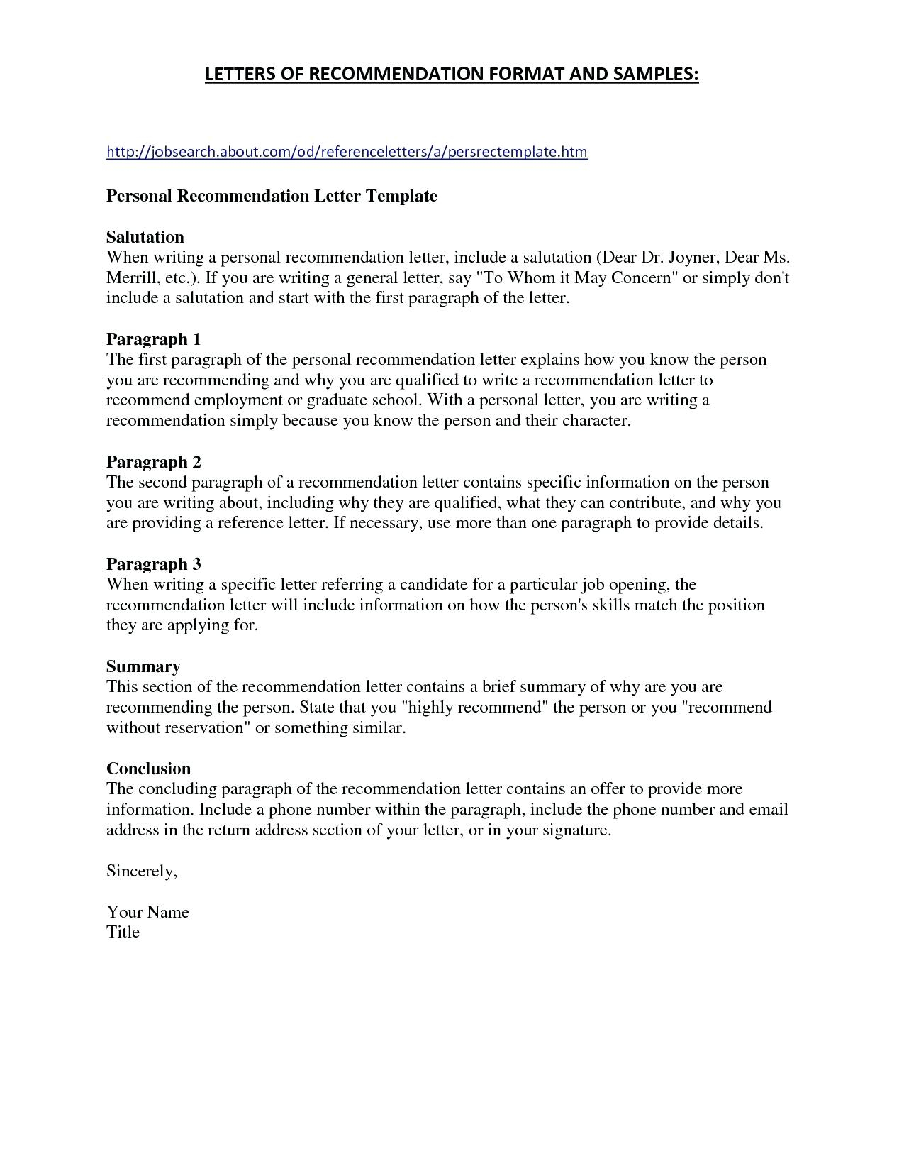 General Reference Letter Template - Employer Re Mendation Letter Template 6 – Infoe Link