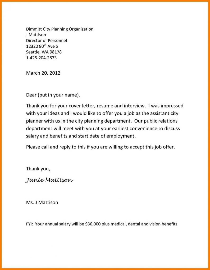 Opt Job Offer Letter Template - Employment Fer Letter Template Awesome Collection Samples