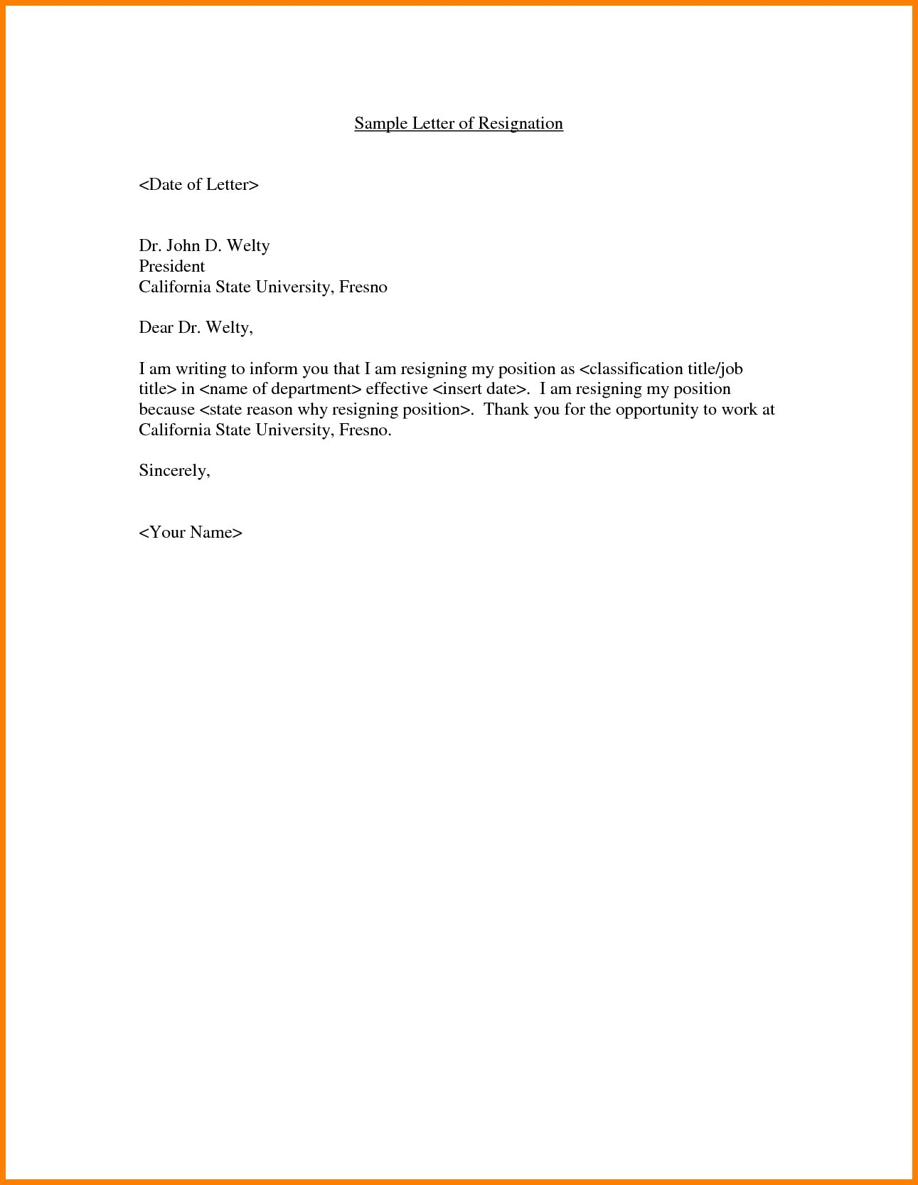 California Offer Letter Template - Employment Fer Letter Template Doc Copy Resignation Letter Sample