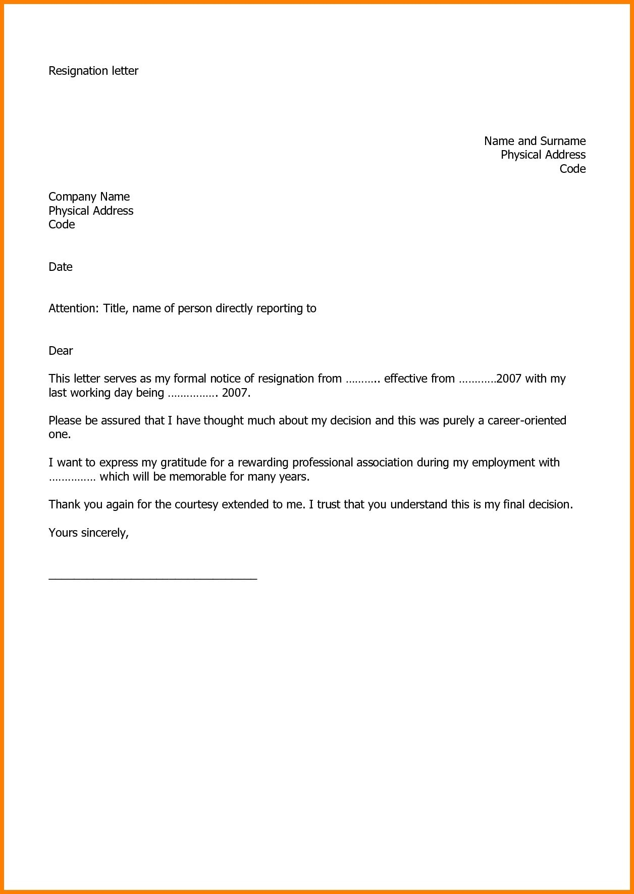 work resignation letter template employment fer letter template doc copy resignation letter sample