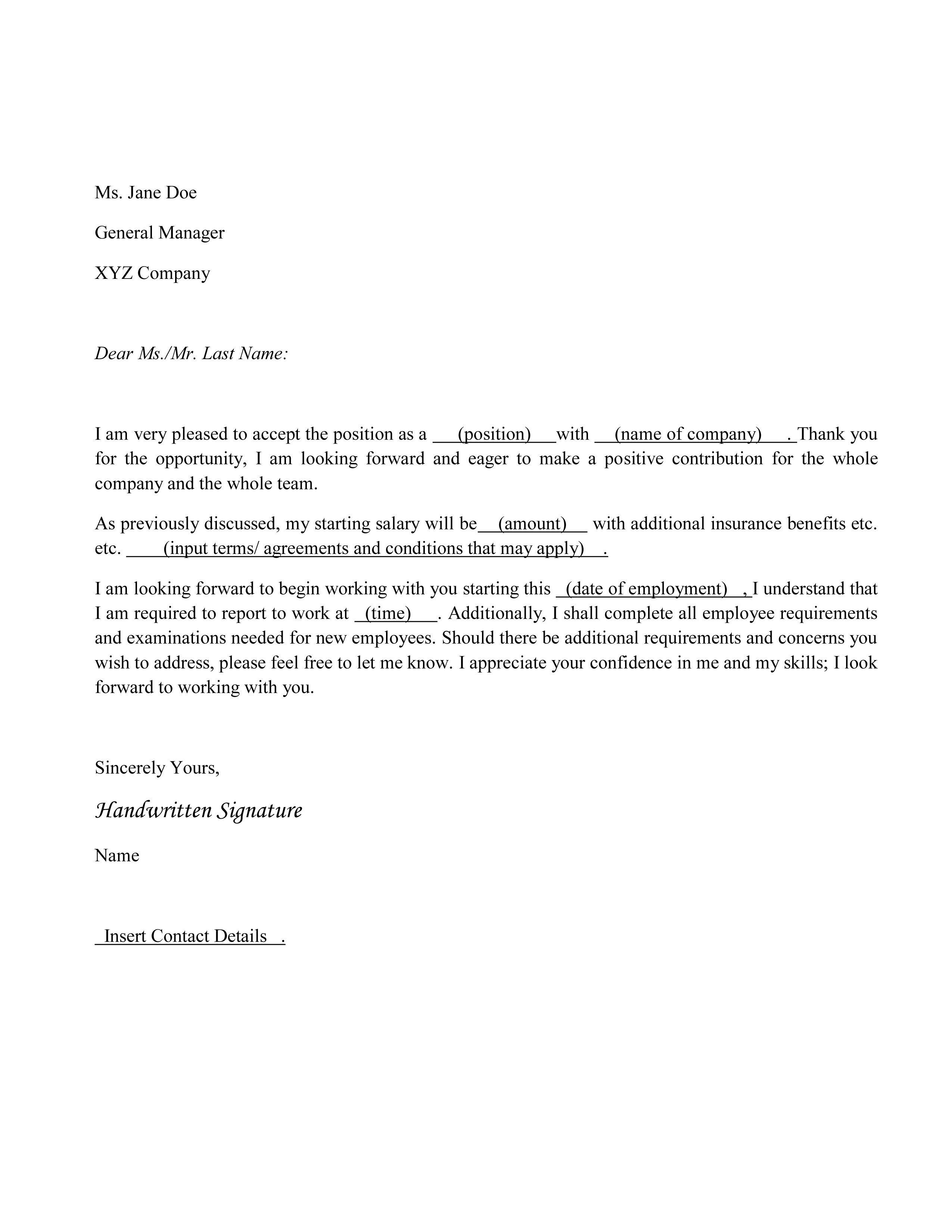 Proof Of Loss Of Coverage Letter Template - Employment Fer Letter Template