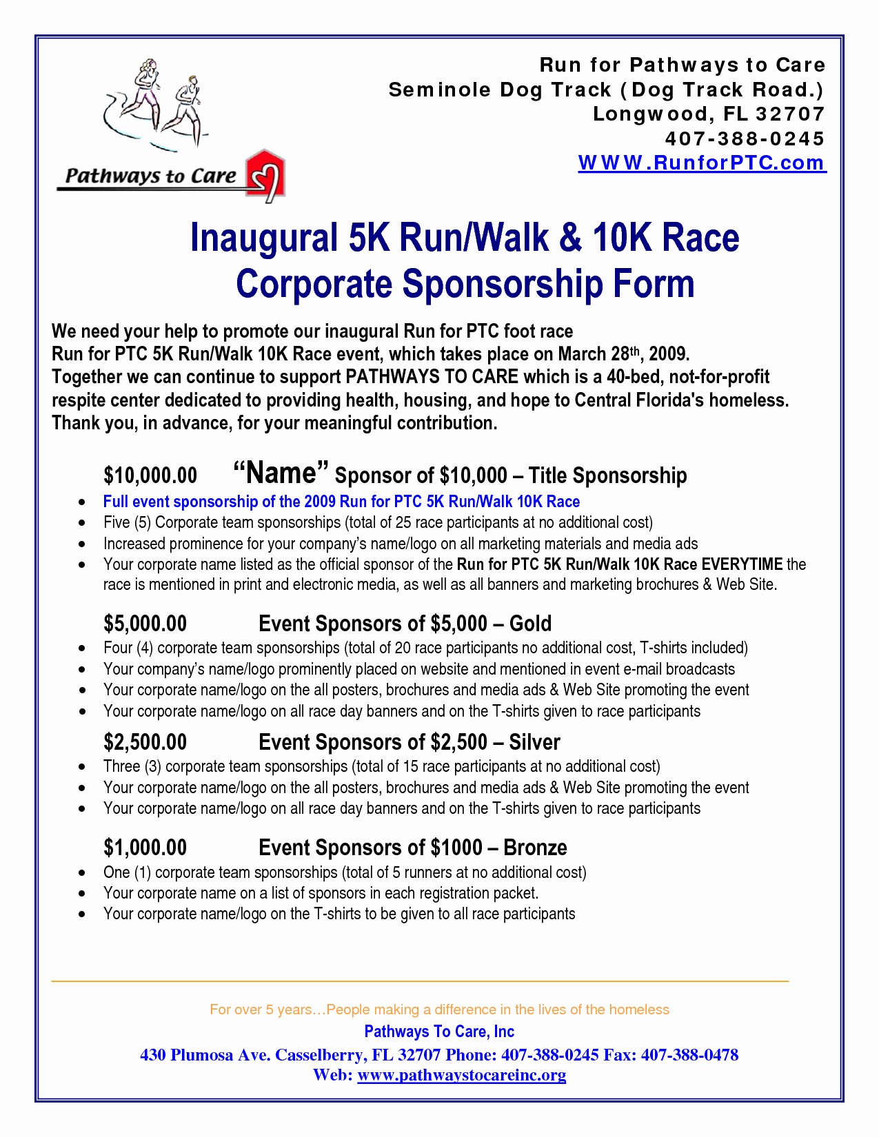 5k Sponsorship Letter Template - event Sponsorship Best Sheet Templ On Printable Sponsorship Letter