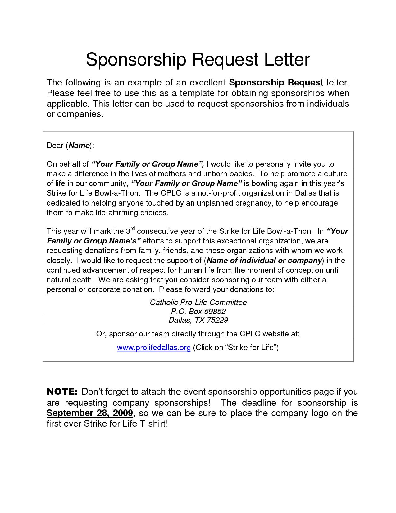 5k Sponsorship Letter Template - event Sponsorship Letter solarfm