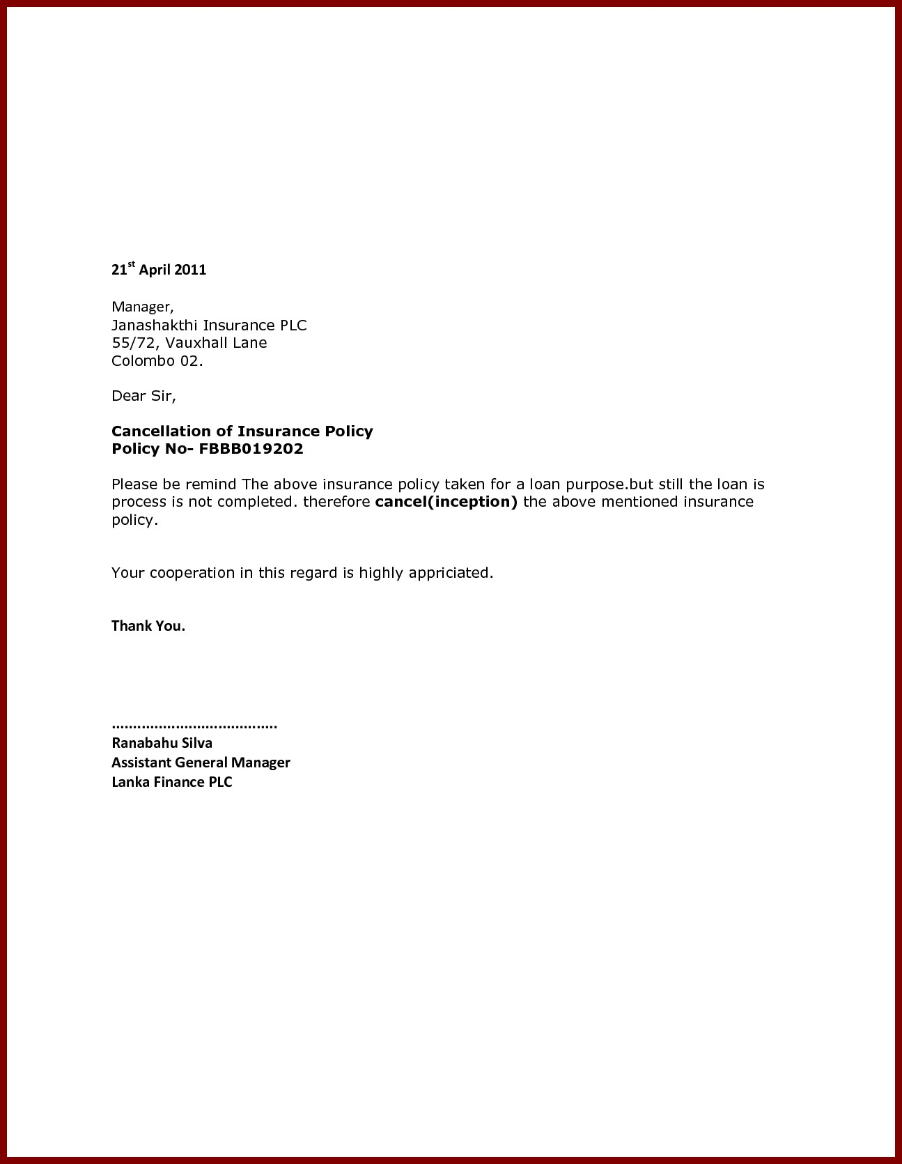 Insurance Policy Cancellation Letter Template Samples ...
