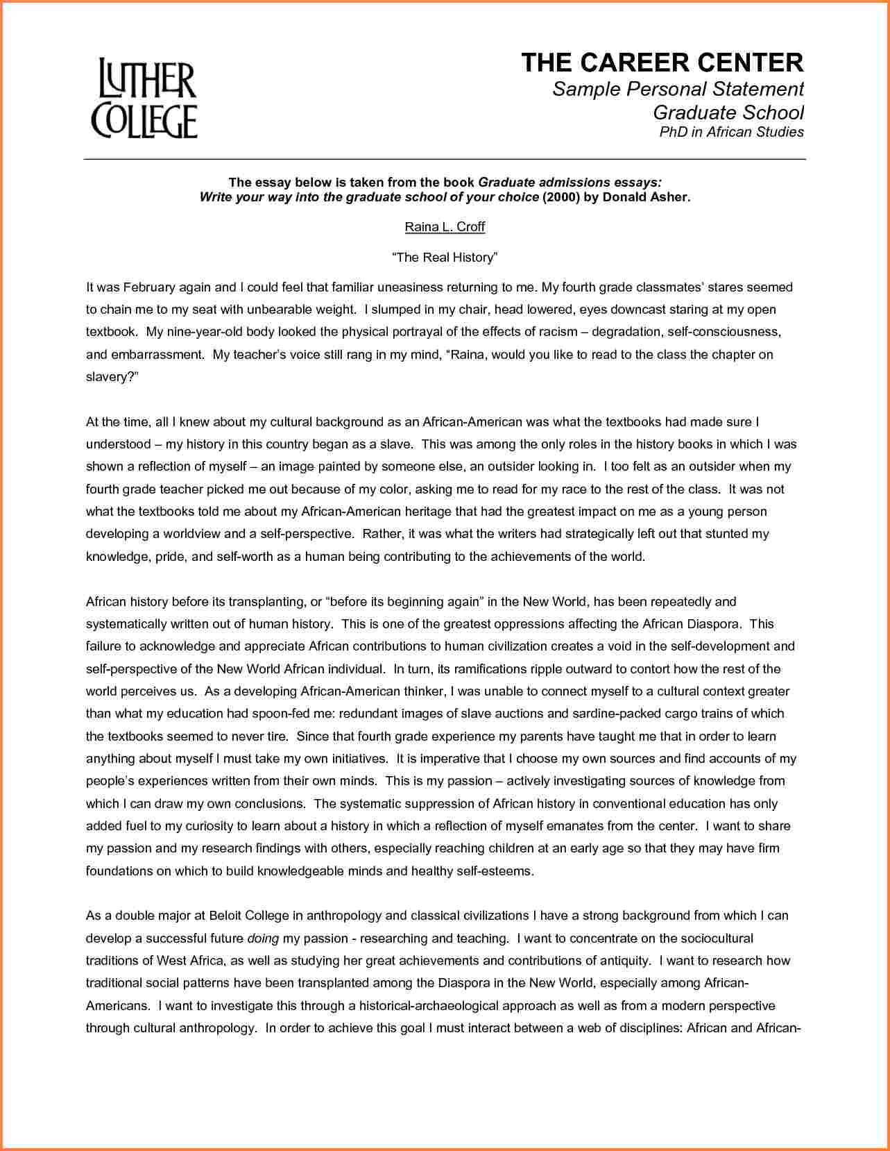 Letter Of Intent Template Graduate School - Example Of Personal Essays for Graduate School Acurnamedia