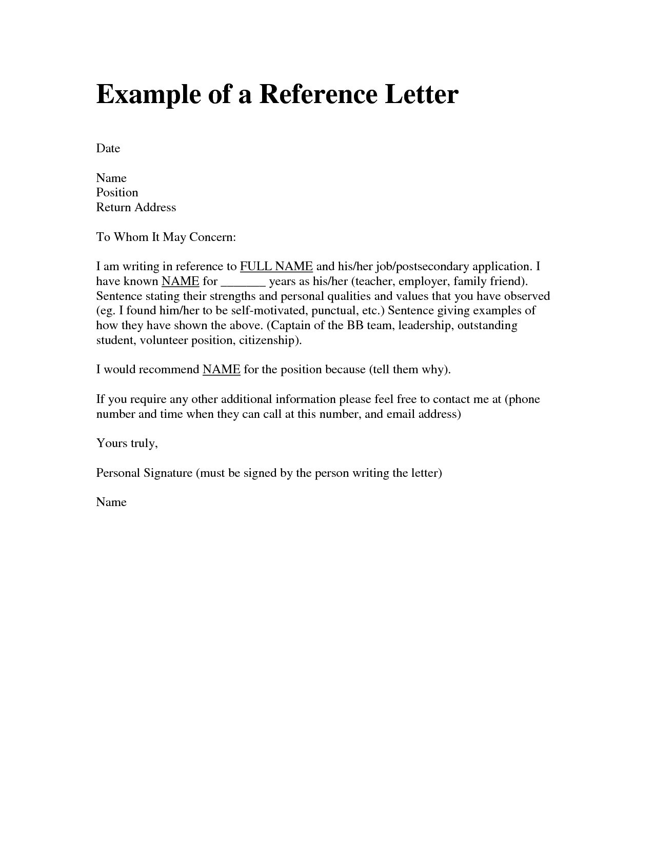 Reference Letter for Friend Character Template - Example Personal Re Mendation Letter for Job Best Re Mendation